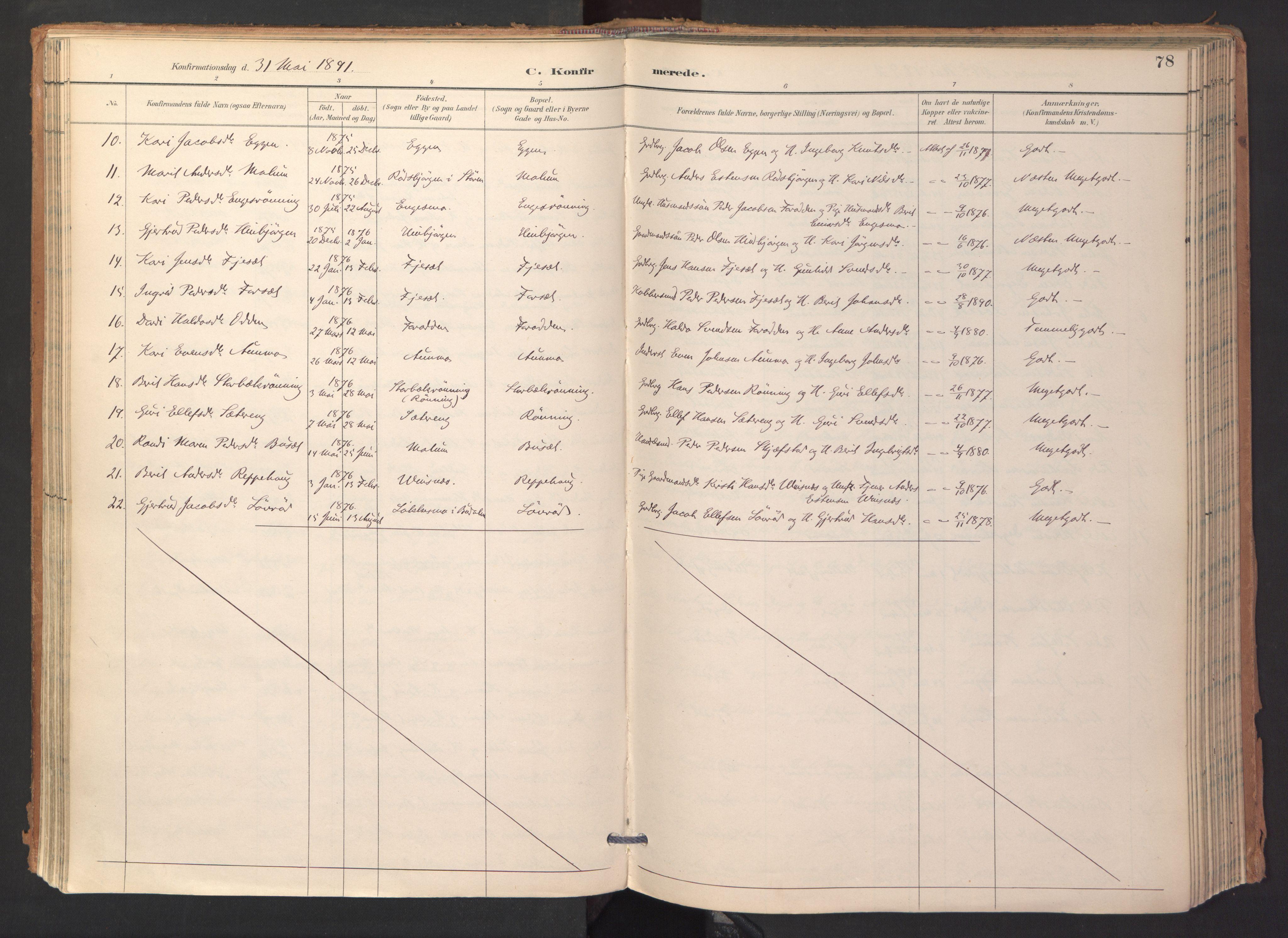 SAT, Ministerialprotokoller, klokkerbøker og fødselsregistre - Sør-Trøndelag, 688/L1025: Ministerialbok nr. 688A02, 1891-1909, s. 78