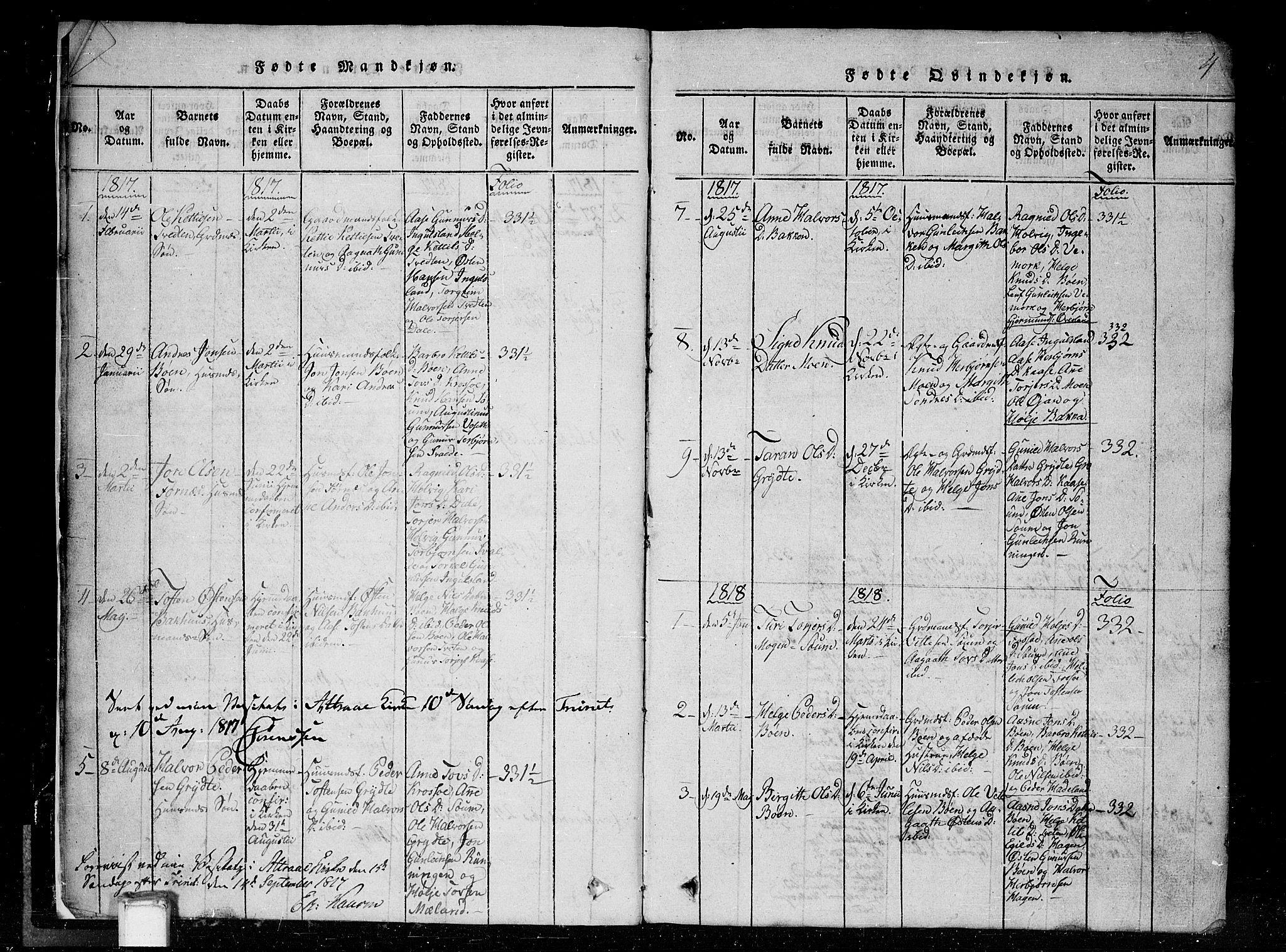 SAKO, Tinn kirkebøker, G/Gc/L0001: Klokkerbok nr. III 1, 1815-1879, s. 4