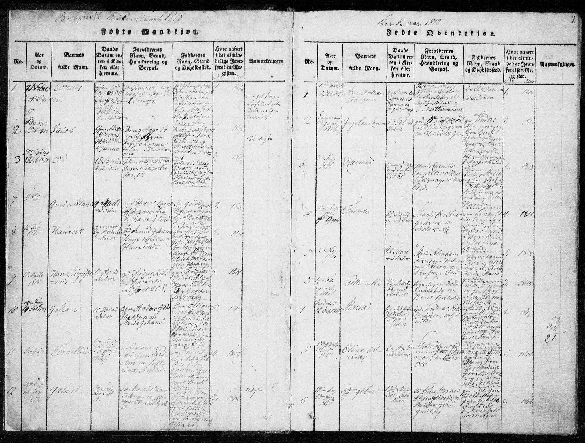 SAT, Ministerialprotokoller, klokkerbøker og fødselsregistre - Sør-Trøndelag, 634/L0527: Ministerialbok nr. 634A03, 1818-1826, s. 2