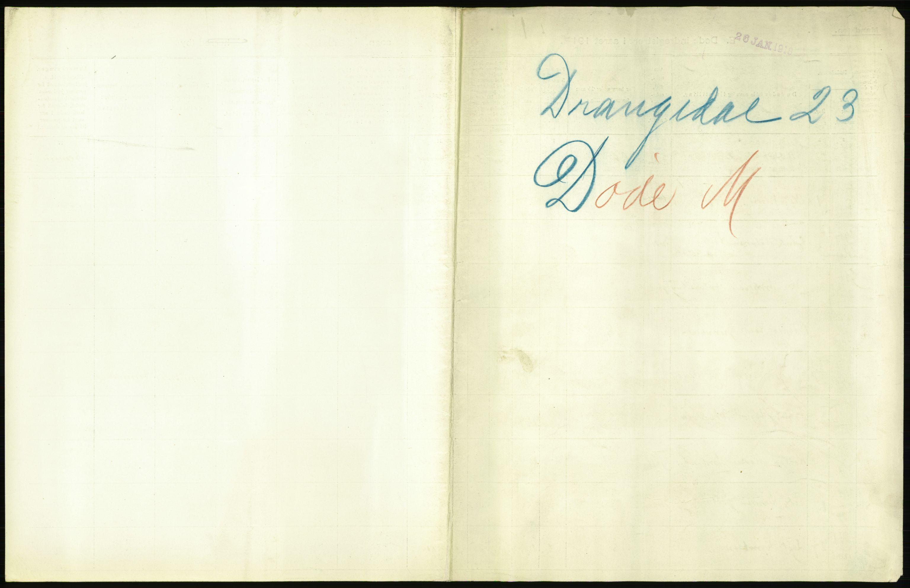 RA, Statistisk sentralbyrå, Sosiodemografiske emner, Befolkning, D/Df/Dfb/Dfbg/L0026: Bratsberg amt: Døde, dødfødte. Bygder og byer., 1917