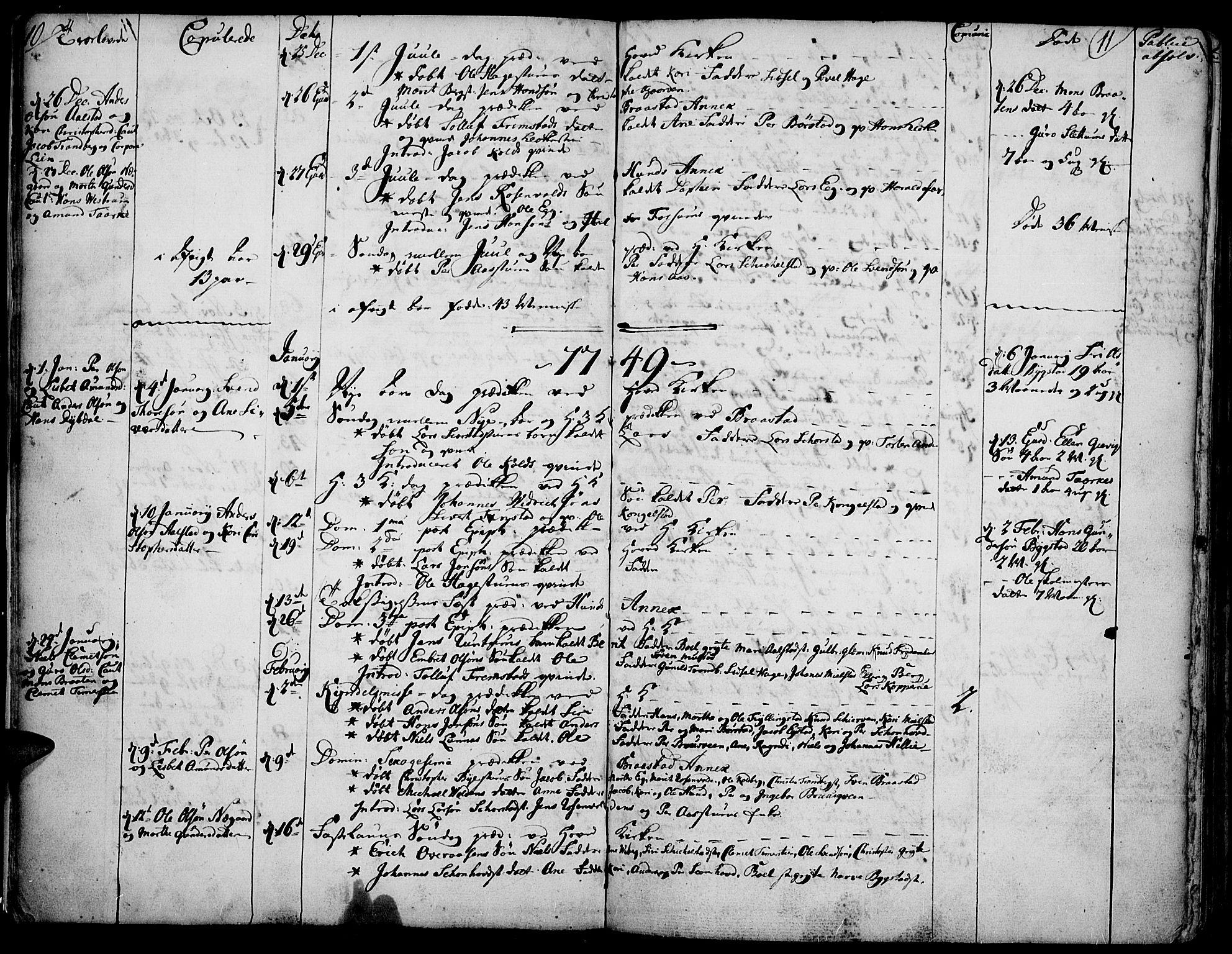 SAH, Vardal prestekontor, H/Ha/Haa/L0002: Ministerialbok nr. 2, 1748-1776, s. 10-11