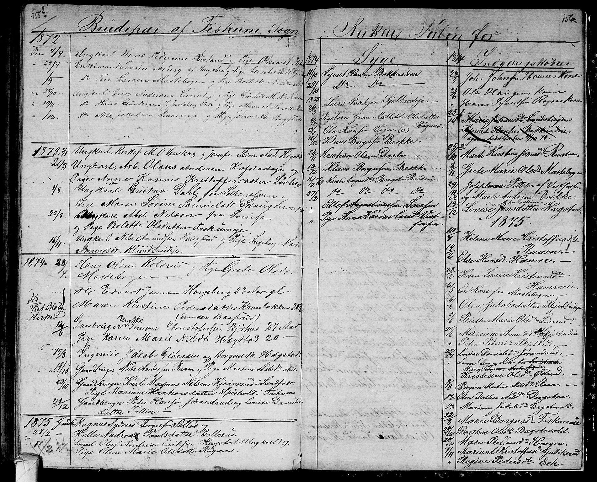 SAKO, Fiskum kirkebøker, G/Ga/L0003: Klokkerbok nr. 3, 1851-1878, s. 156