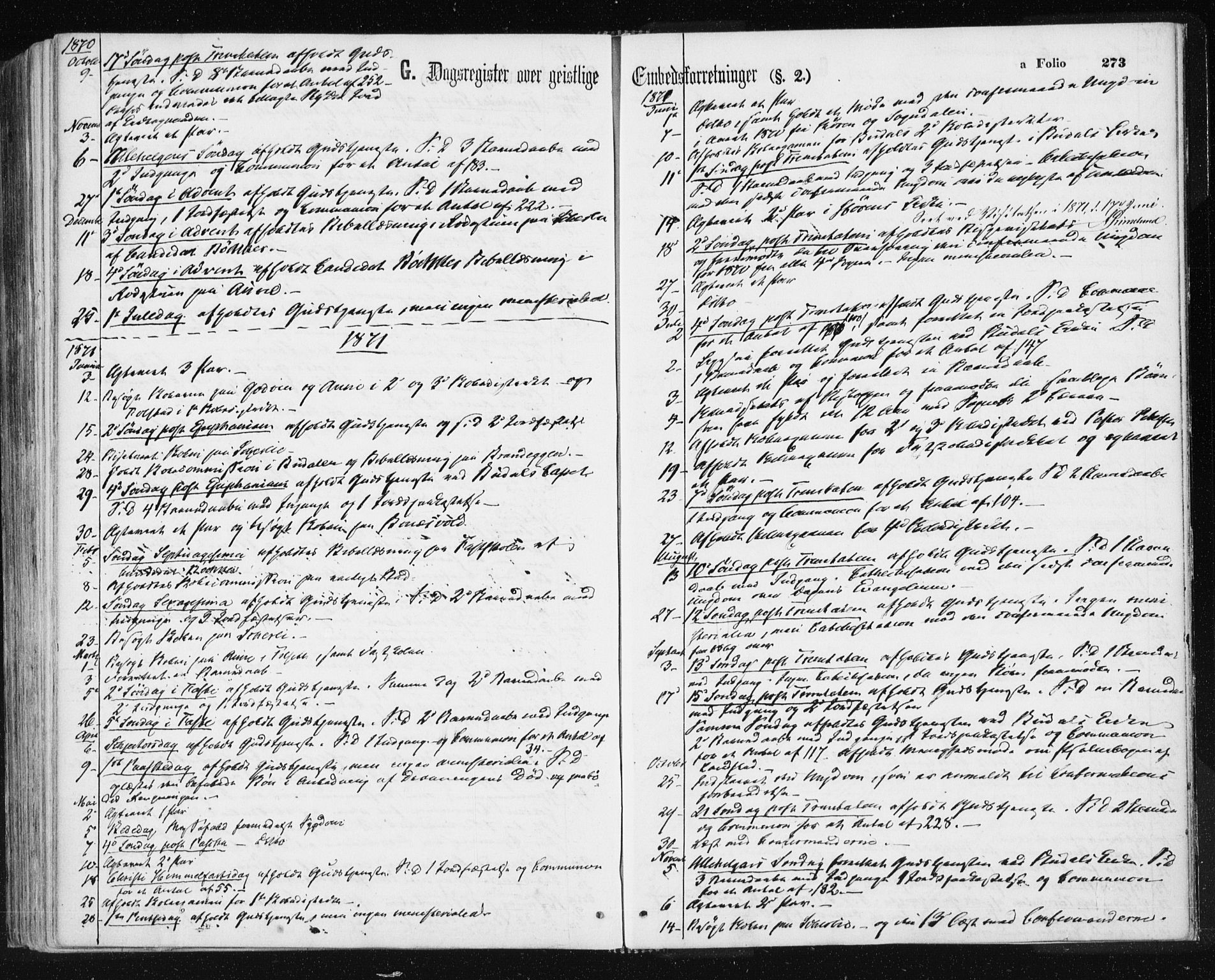 SAT, Ministerialprotokoller, klokkerbøker og fødselsregistre - Sør-Trøndelag, 687/L1001: Ministerialbok nr. 687A07, 1863-1878, s. 273
