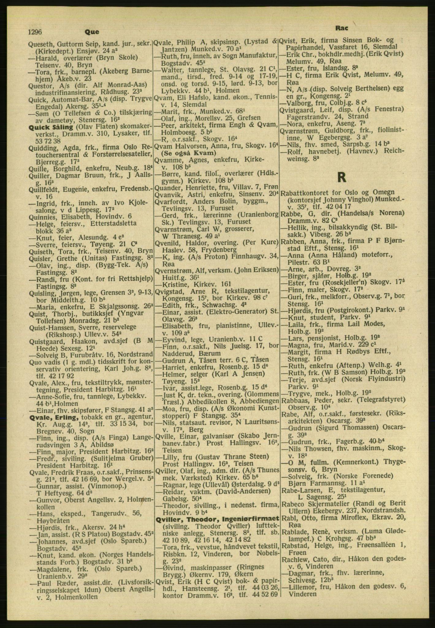 PUBL, Kristiania/Oslo adressebok, 1954, s. 1296