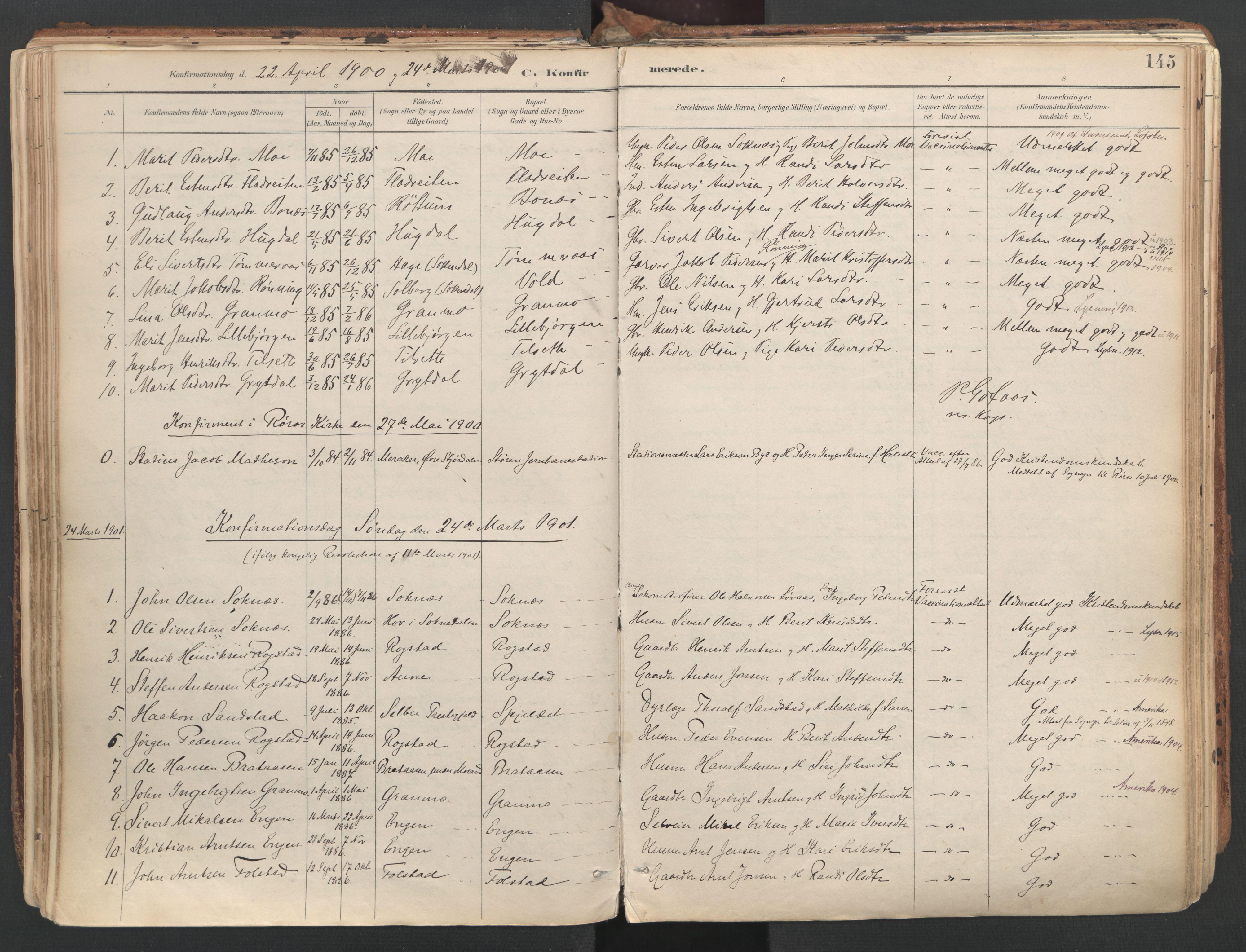 SAT, Ministerialprotokoller, klokkerbøker og fødselsregistre - Sør-Trøndelag, 687/L1004: Ministerialbok nr. 687A10, 1891-1923, s. 145
