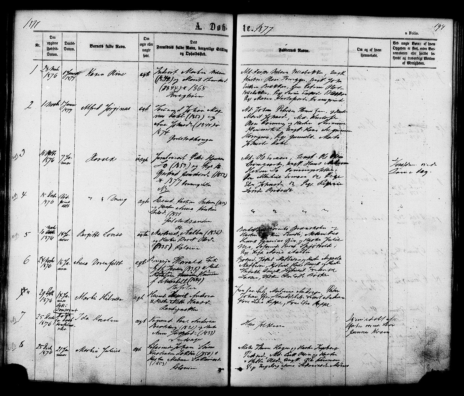 SAT, Ministerialprotokoller, klokkerbøker og fødselsregistre - Sør-Trøndelag, 606/L0293: Ministerialbok nr. 606A08, 1866-1877, s. 194