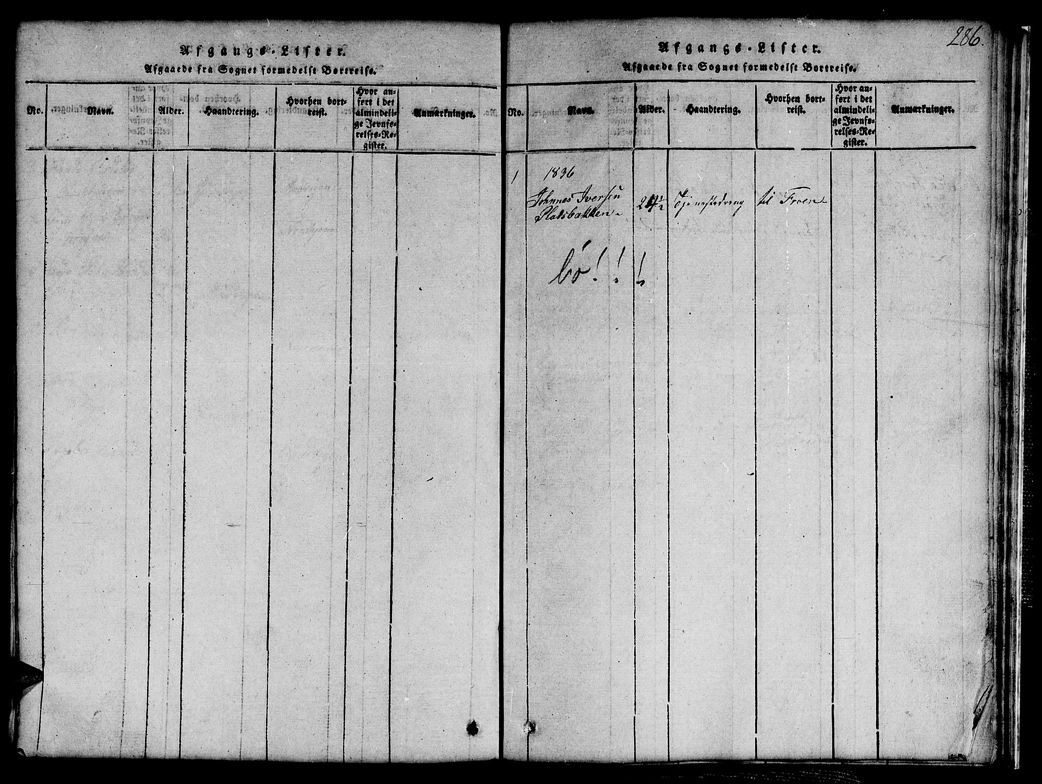SAT, Ministerialprotokoller, klokkerbøker og fødselsregistre - Sør-Trøndelag, 691/L1092: Klokkerbok nr. 691C03, 1816-1852, s. 286