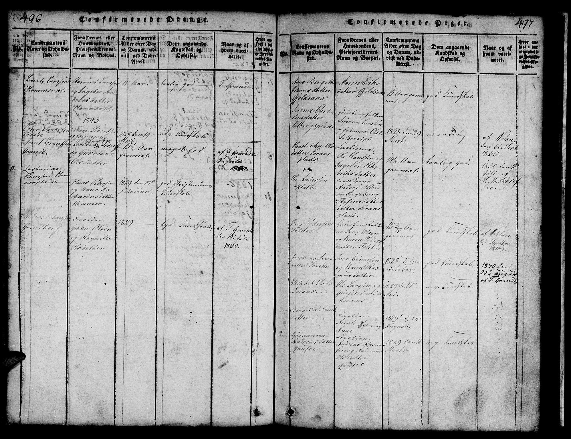 SAT, Ministerialprotokoller, klokkerbøker og fødselsregistre - Nord-Trøndelag, 731/L0310: Klokkerbok nr. 731C01, 1816-1874, s. 496-497