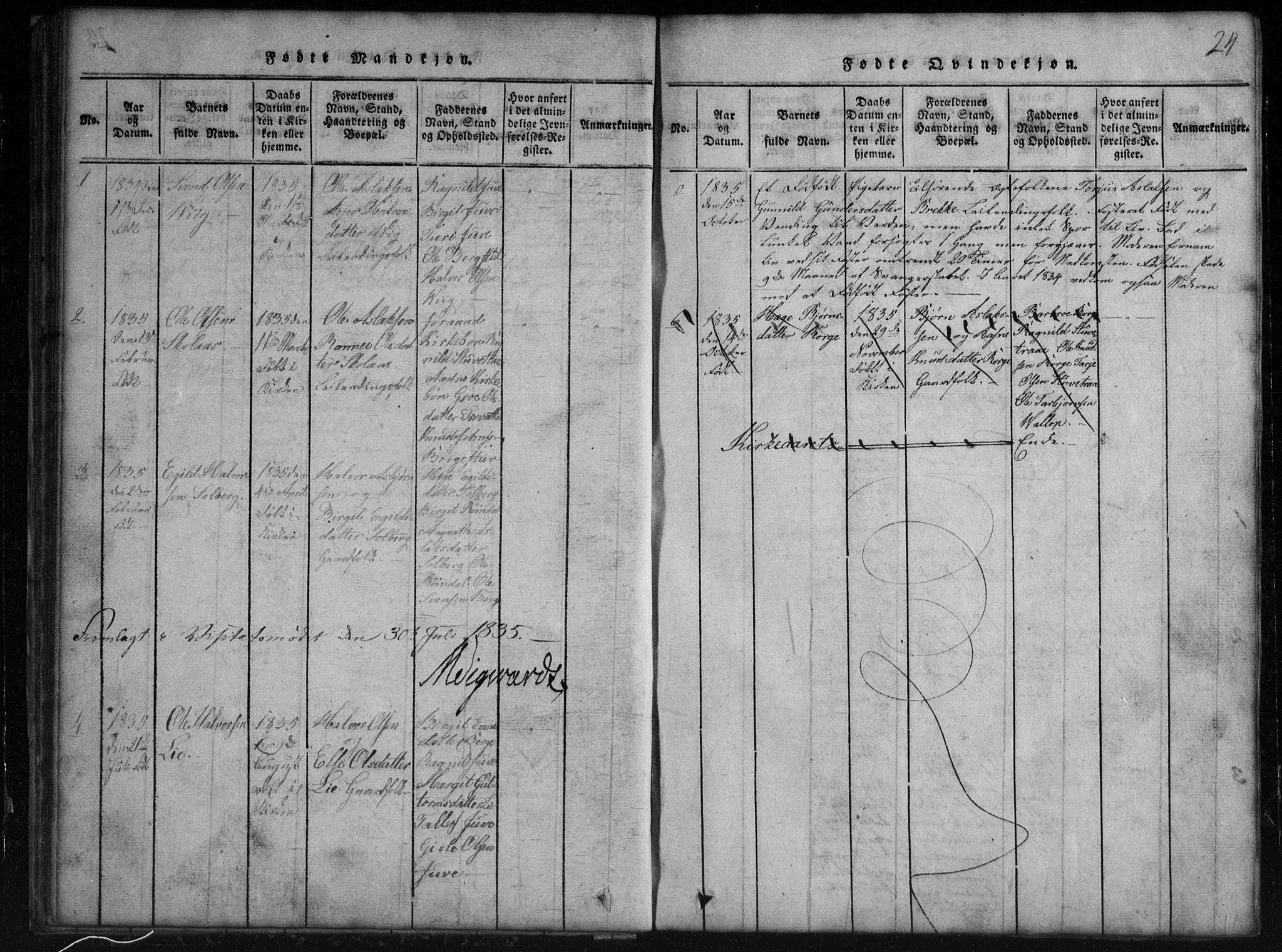 SAKO, Rauland kirkebøker, G/Gb/L0001: Klokkerbok nr. II 1, 1815-1886, s. 24