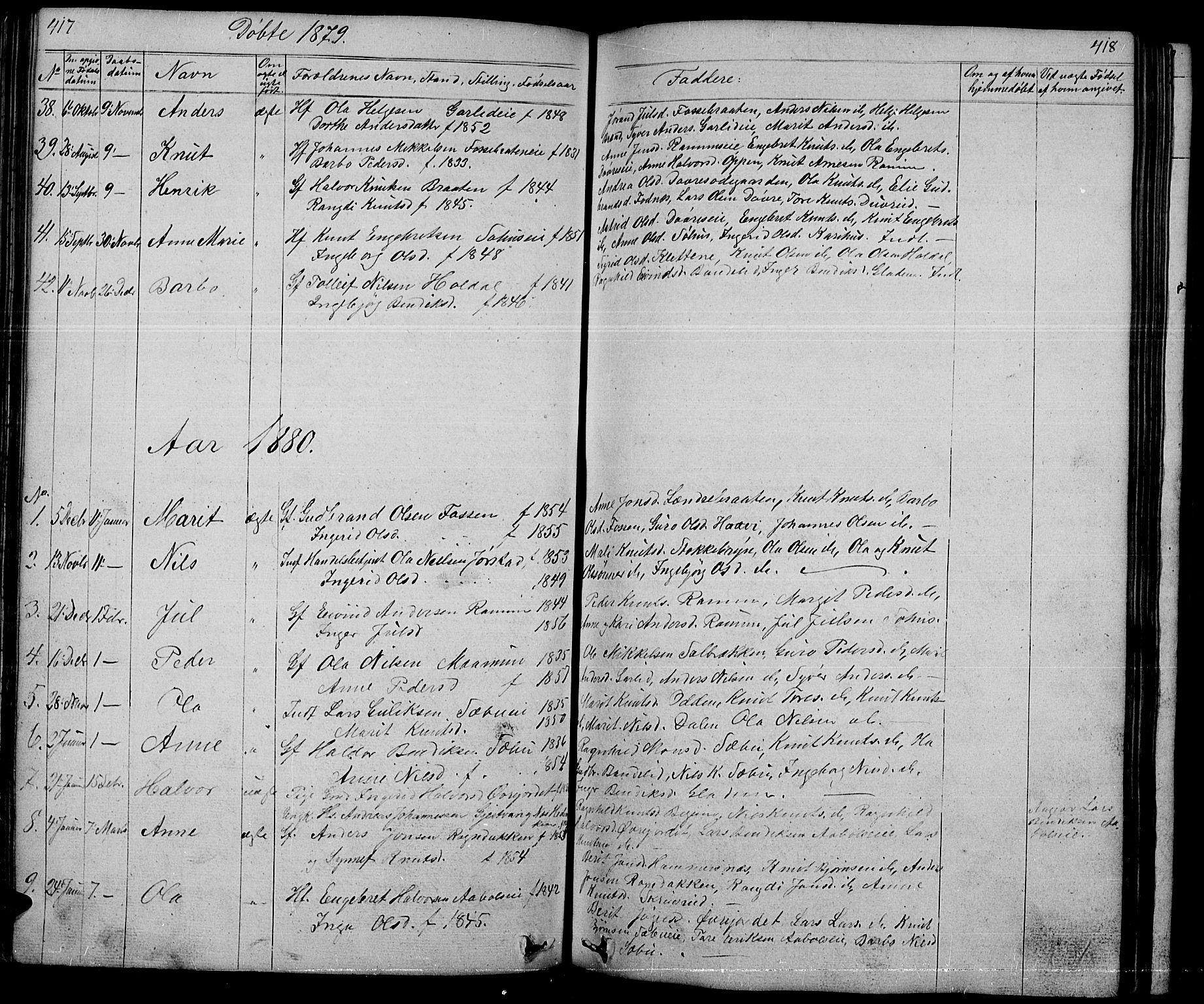 SAH, Nord-Aurdal prestekontor, Klokkerbok nr. 1, 1834-1887, s. 417-418