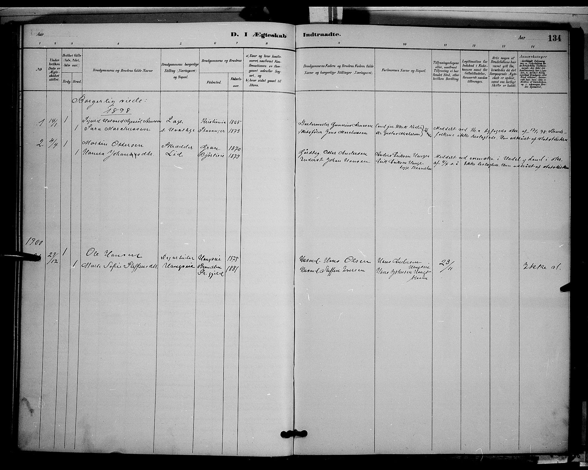 SAH, Søndre Land prestekontor, L/L0002: Klokkerbok nr. 2, 1884-1900, s. 134