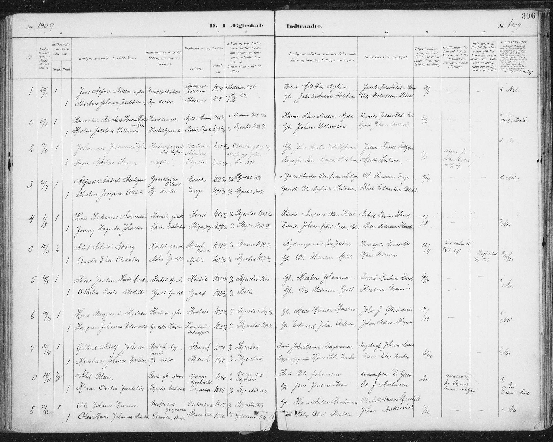 SAT, Ministerialprotokoller, klokkerbøker og fødselsregistre - Nordland, 852/L0741: Ministerialbok nr. 852A11, 1894-1917, s. 306