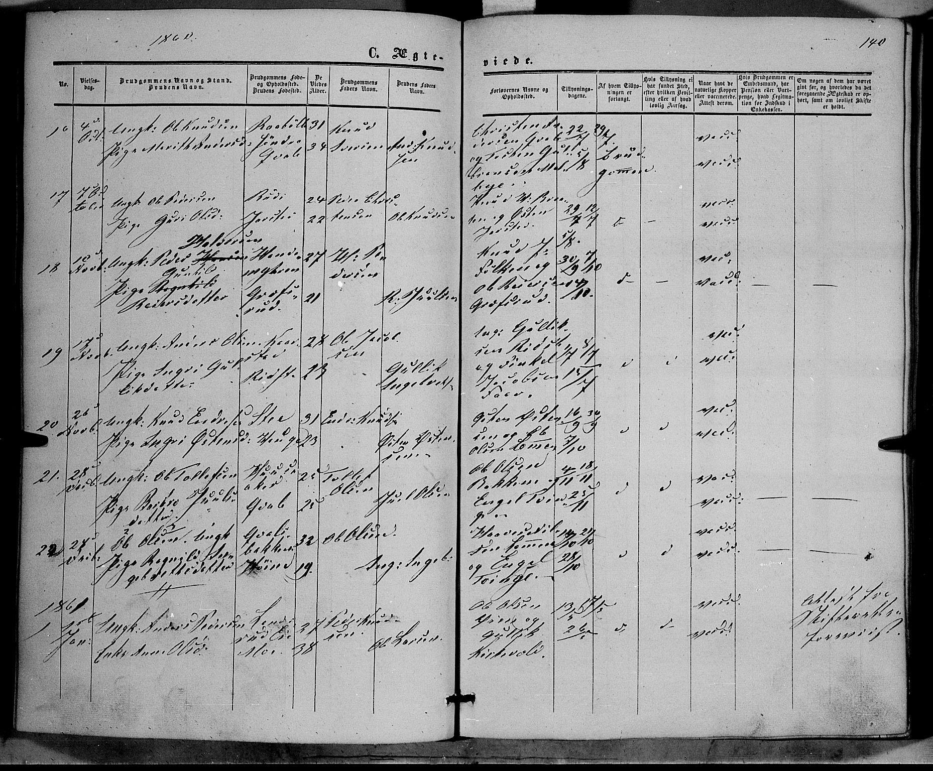 SAH, Vestre Slidre prestekontor, Ministerialbok nr. 2, 1856-1864, s. 140