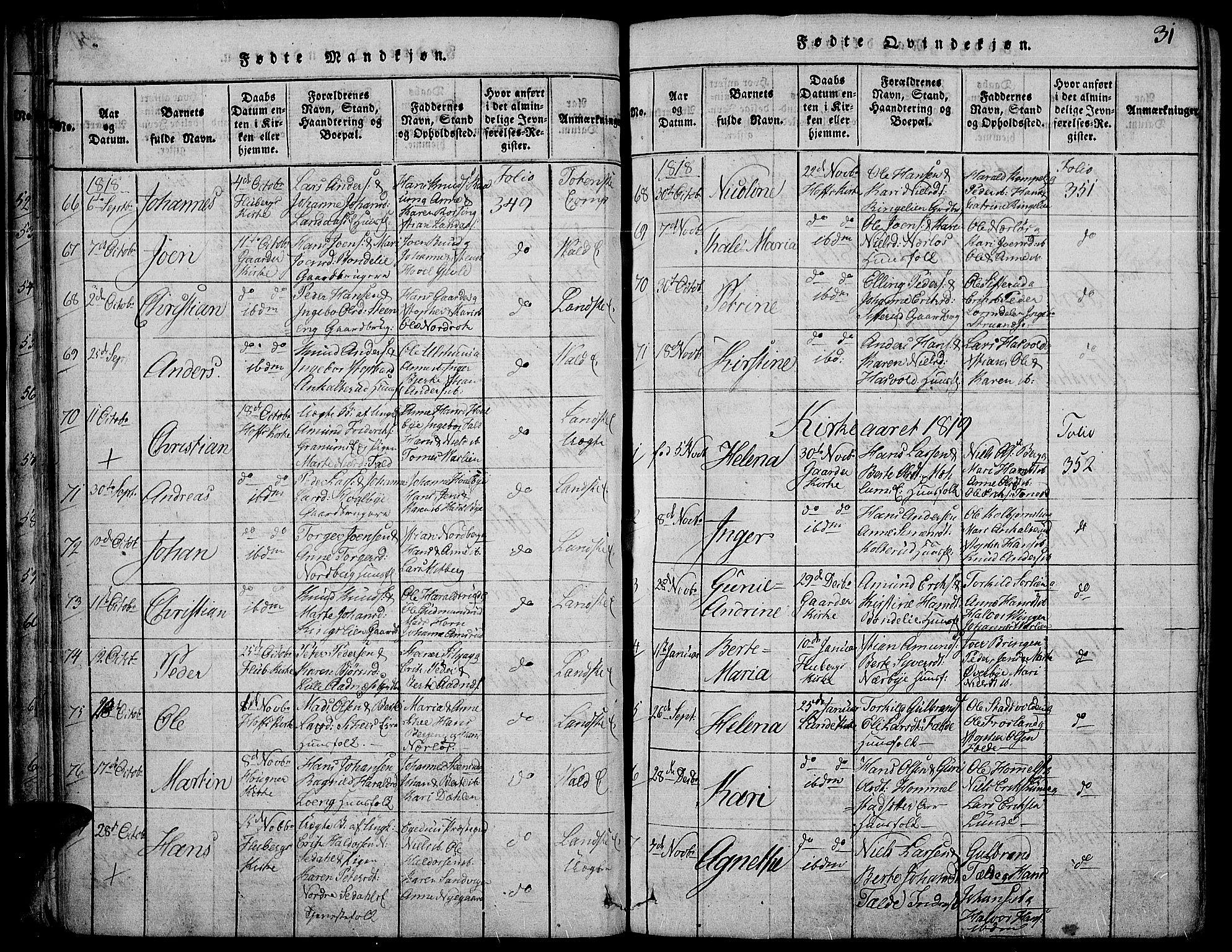 SAH, Land prestekontor, Ministerialbok nr. 7, 1814-1830, s. 31