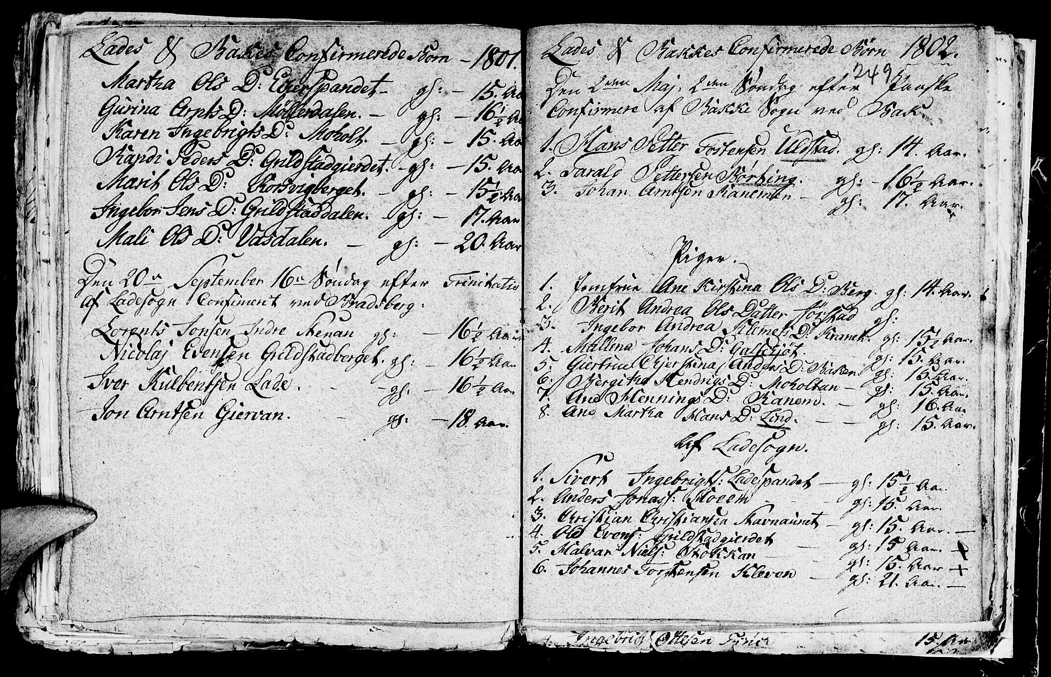 SAT, Ministerialprotokoller, klokkerbøker og fødselsregistre - Sør-Trøndelag, 604/L0218: Klokkerbok nr. 604C01, 1754-1819, s. 249