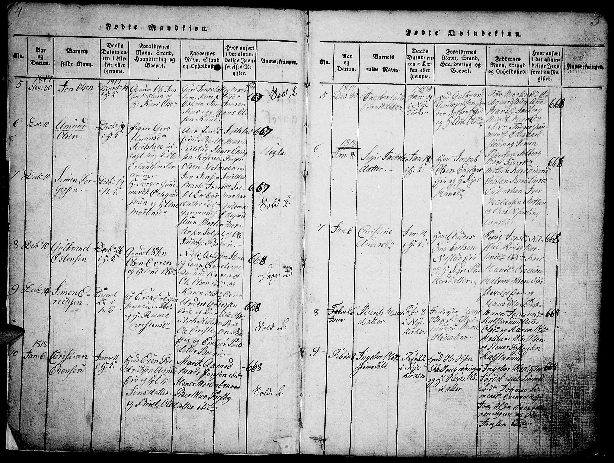 SAH, Gausdal prestekontor, Klokkerbok nr. 1, 1817-1848, s. 4-5
