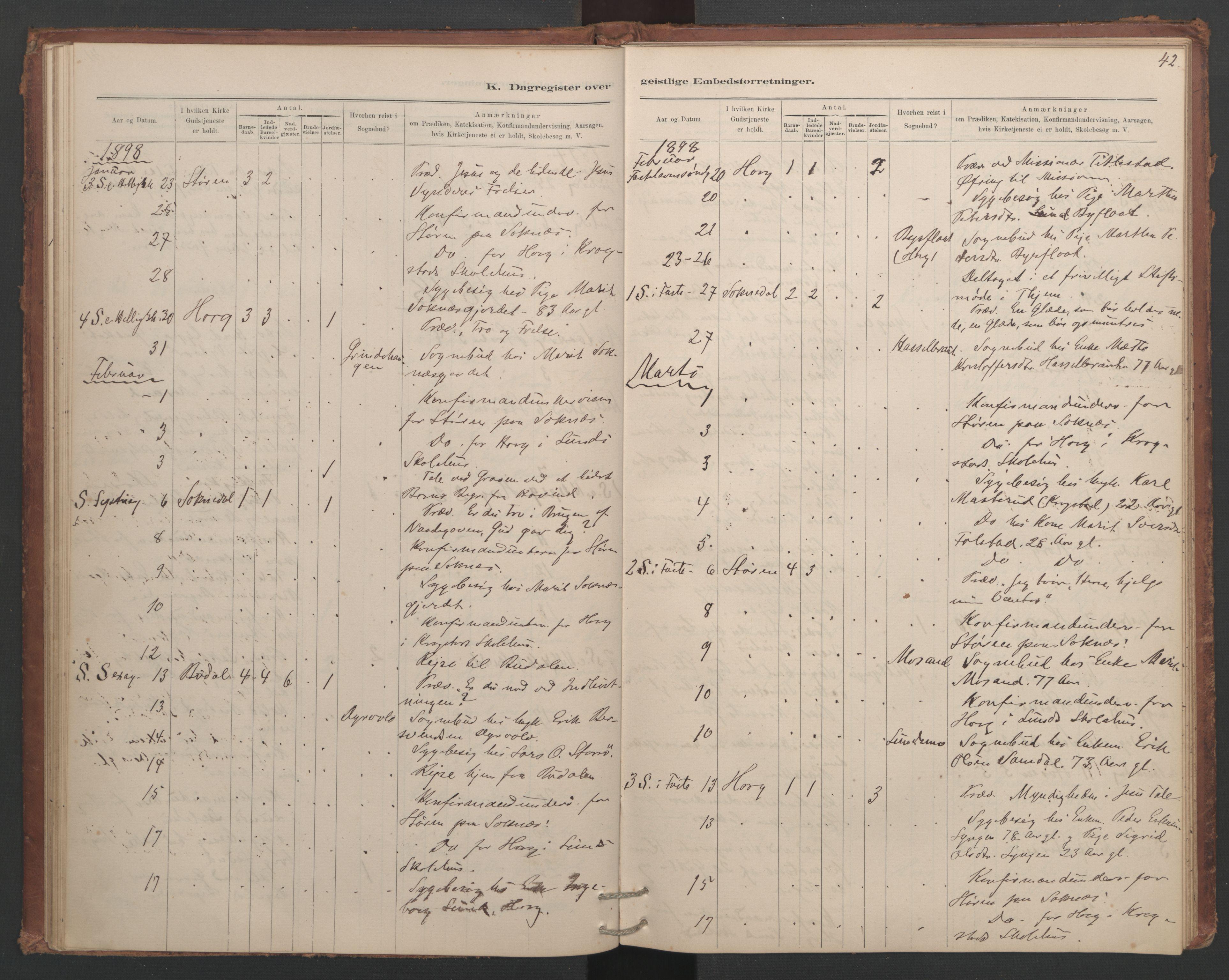 SAT, Ministerialprotokoller, klokkerbøker og fødselsregistre - Sør-Trøndelag, 687/L1012: Dagregister nr. 687B01, 1887-1914, s. 42