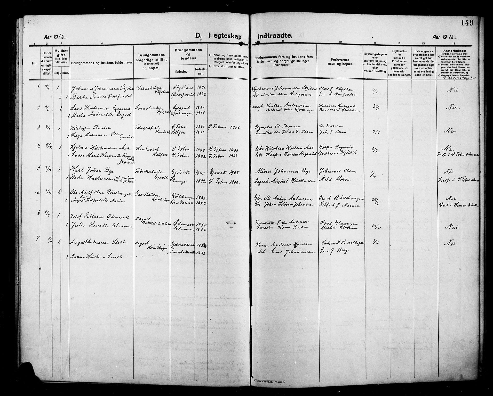 SAH, Kolbu prestekontor, Klokkerbok nr. 1, 1912-1925, s. 149