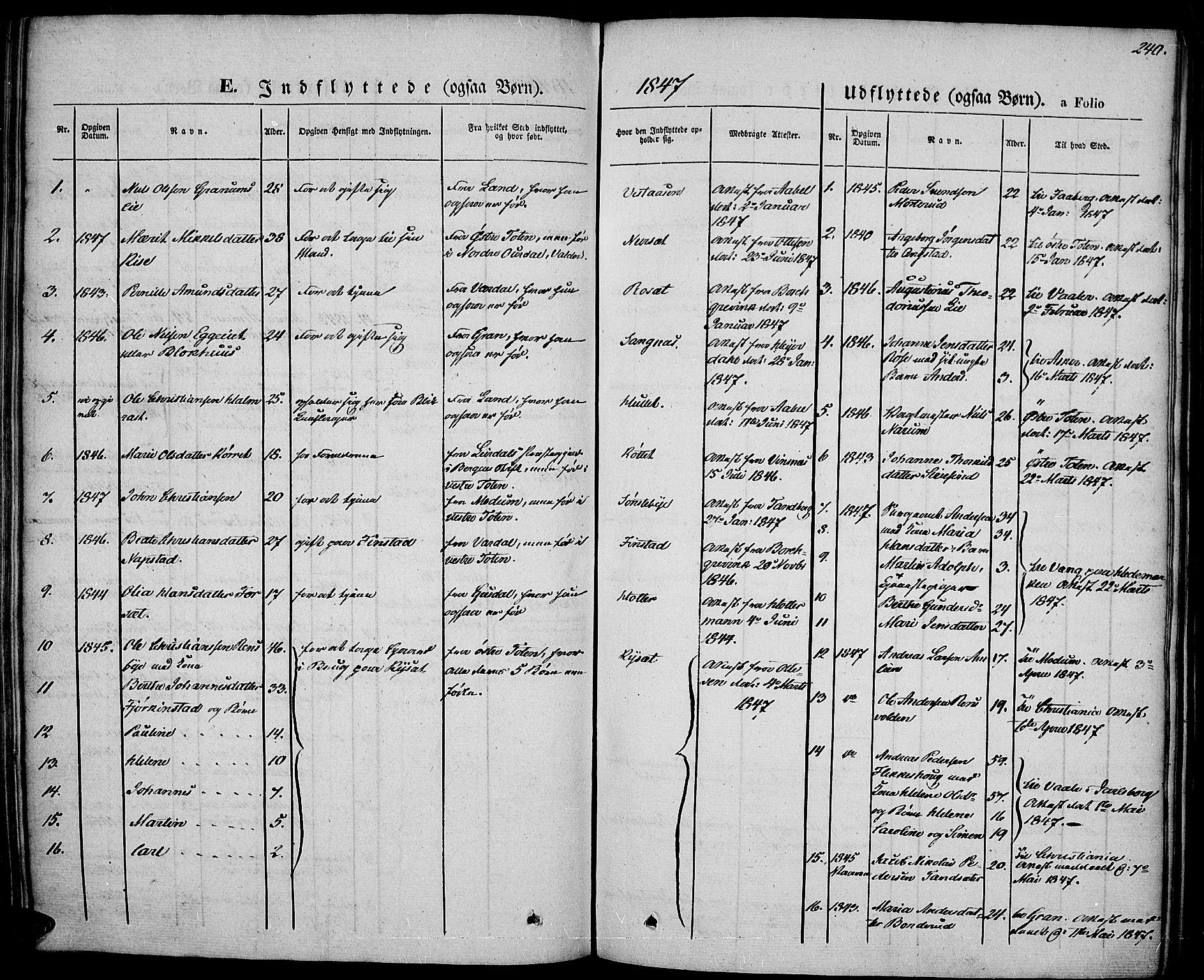 SAH, Vestre Toten prestekontor, Ministerialbok nr. 4, 1844-1849, s. 240