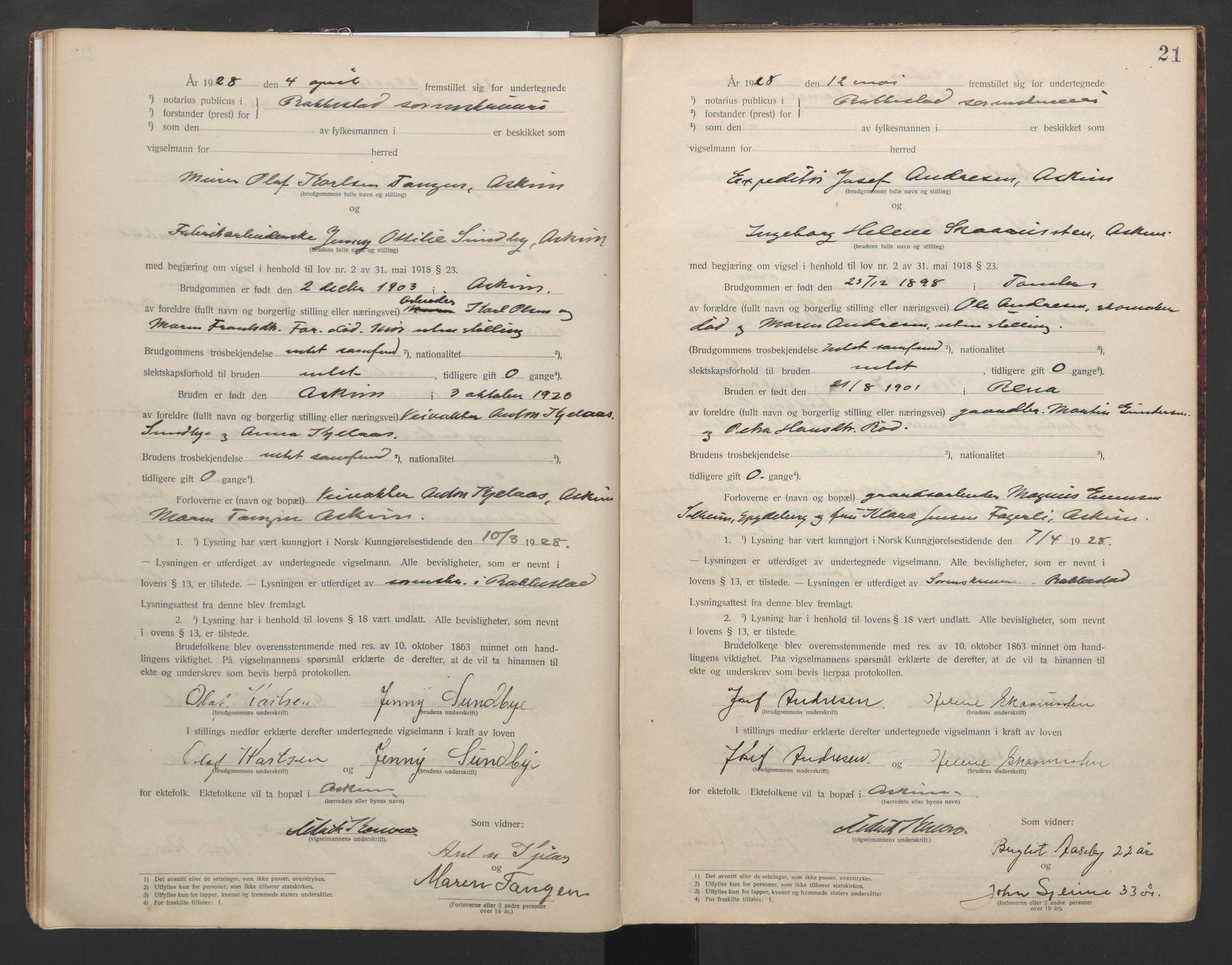 SAO, Rakkestad sorenskriveri, L/Lc/Lca/L0001: Vigselbøker, 1920-1942, s. 21