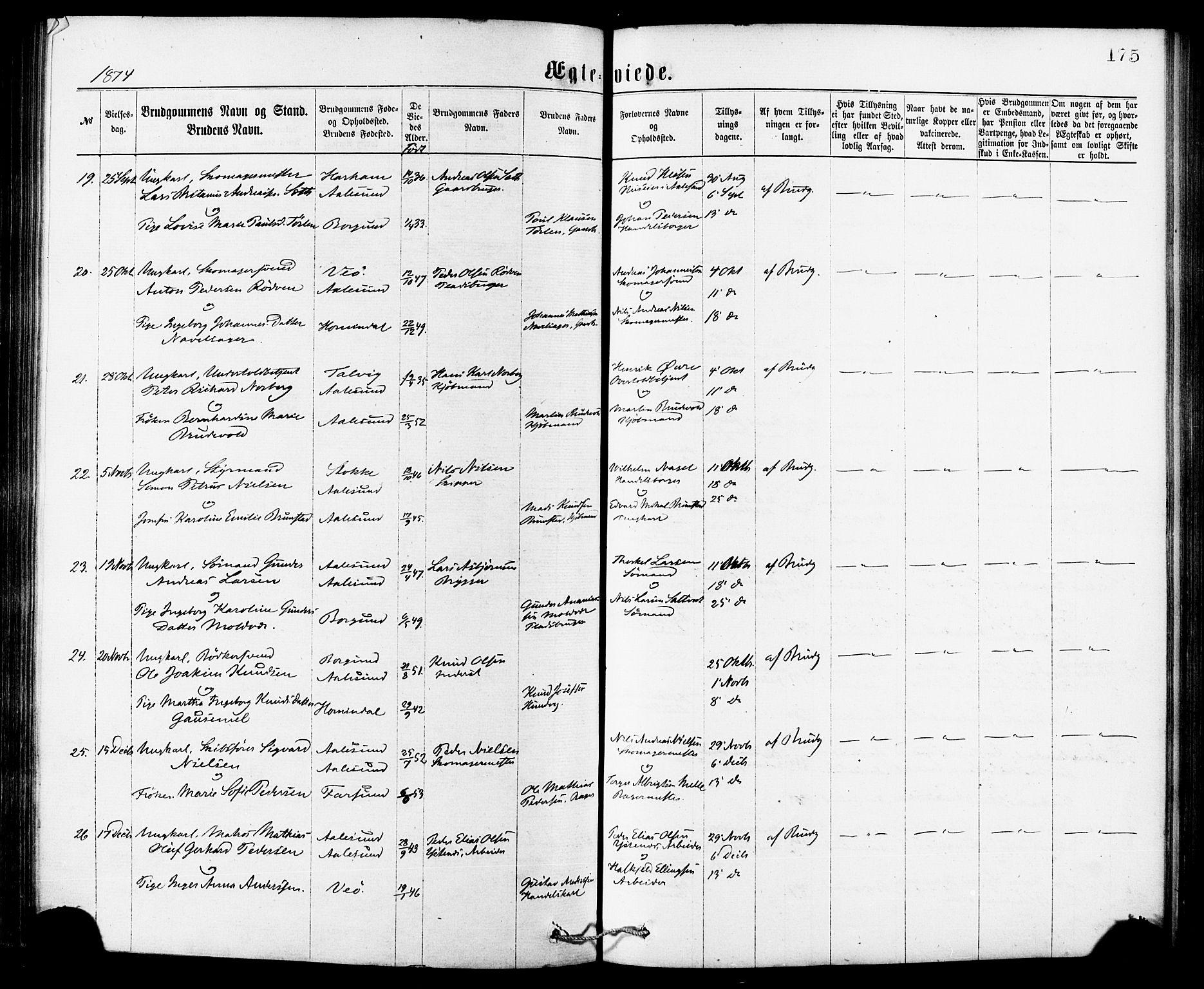 SAT, Ministerialprotokoller, klokkerbøker og fødselsregistre - Møre og Romsdal, 529/L0453: Ministerialbok nr. 529A03, 1872-1877, s. 175