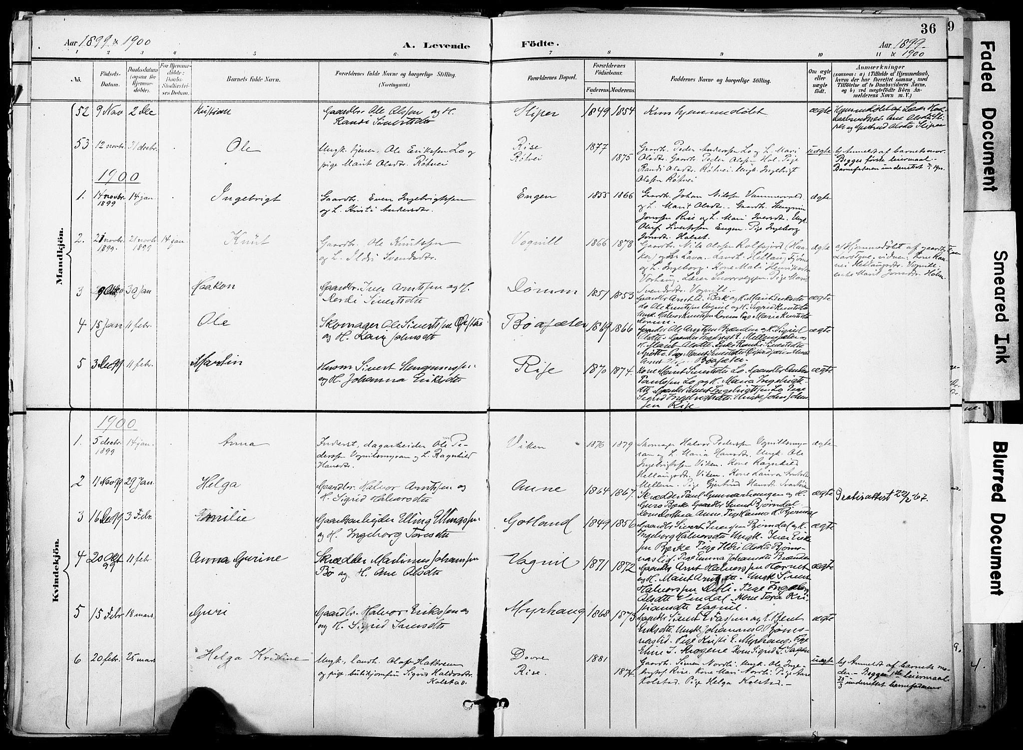 SAT, Ministerialprotokoller, klokkerbøker og fødselsregistre - Sør-Trøndelag, 678/L0902: Ministerialbok nr. 678A11, 1895-1911, s. 36