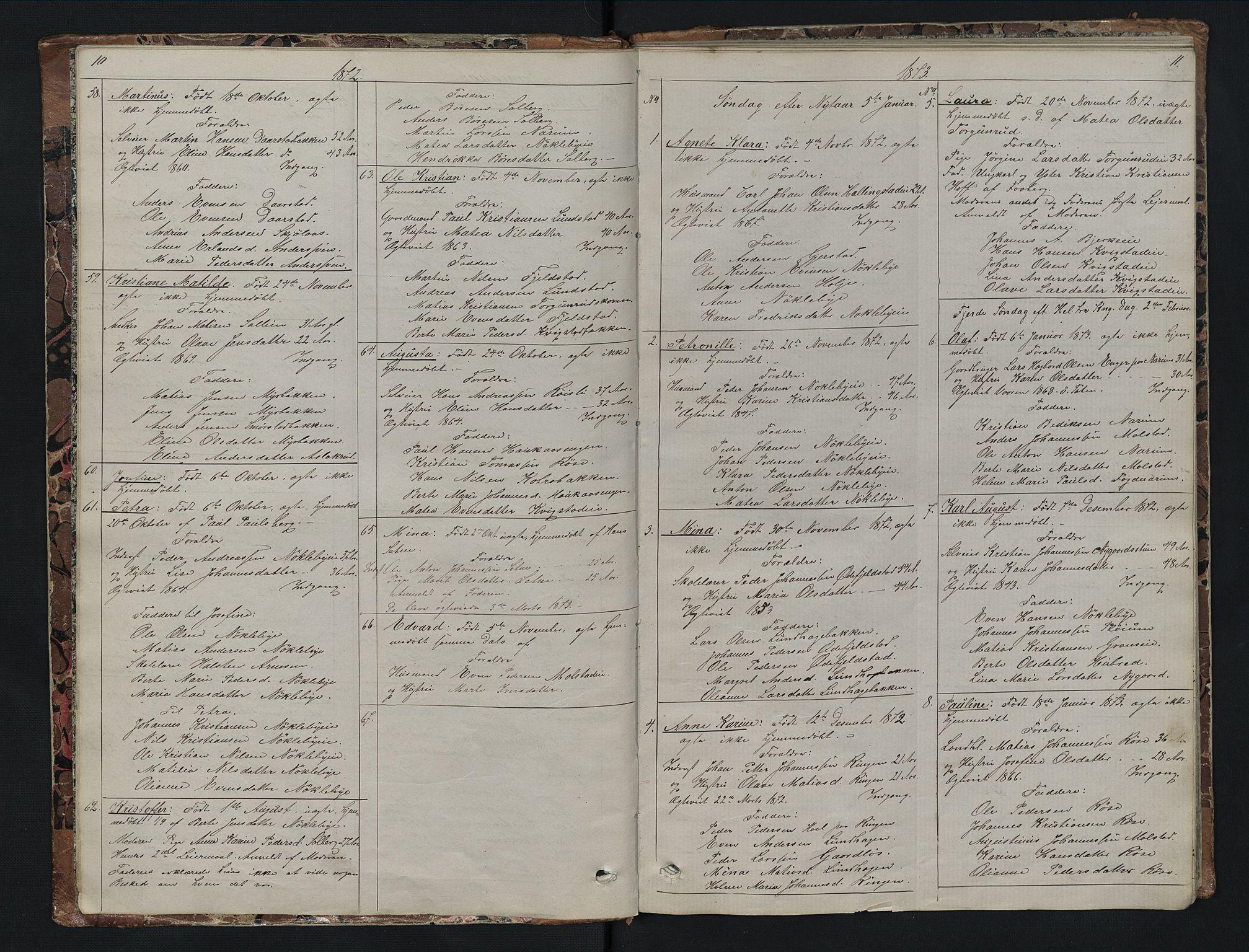 SAH, Vestre Toten prestekontor, Klokkerbok nr. 7, 1872-1900, s. 10-11