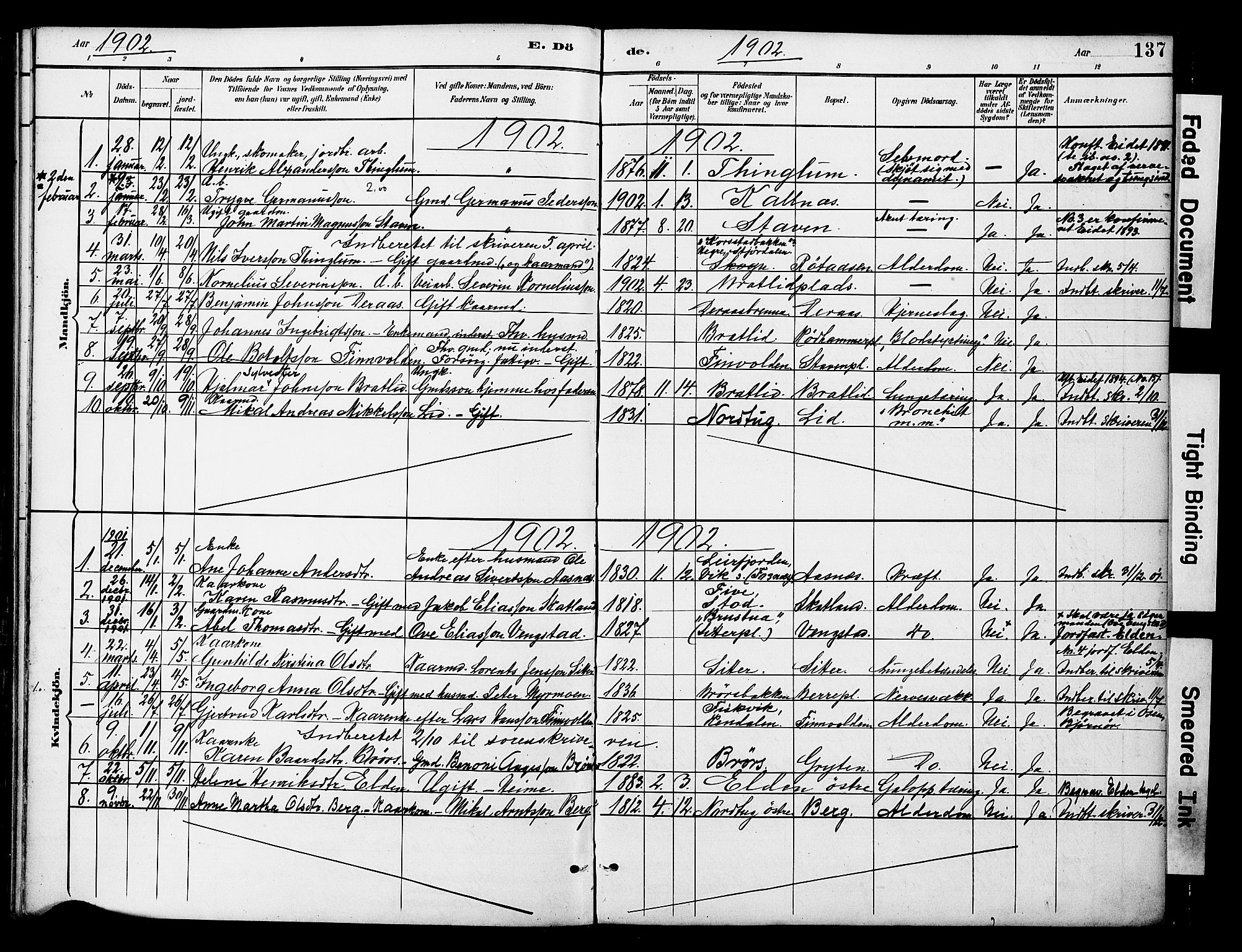SAT, Ministerialprotokoller, klokkerbøker og fødselsregistre - Nord-Trøndelag, 742/L0409: Ministerialbok nr. 742A02, 1891-1905, s. 137