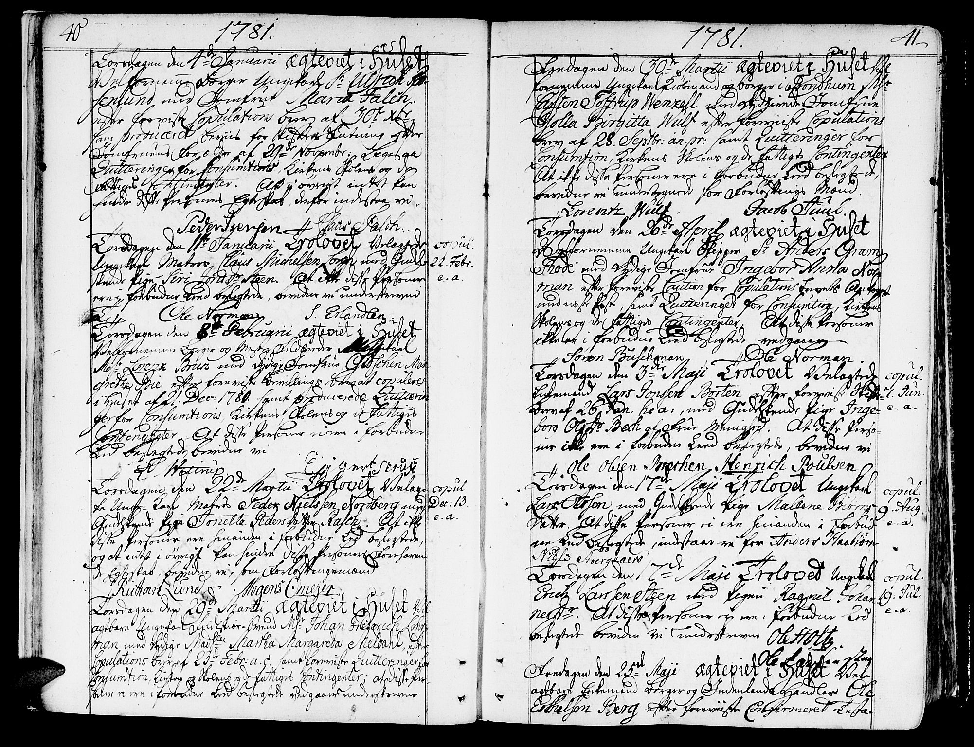 SAT, Ministerialprotokoller, klokkerbøker og fødselsregistre - Sør-Trøndelag, 602/L0105: Ministerialbok nr. 602A03, 1774-1814, s. 40-41