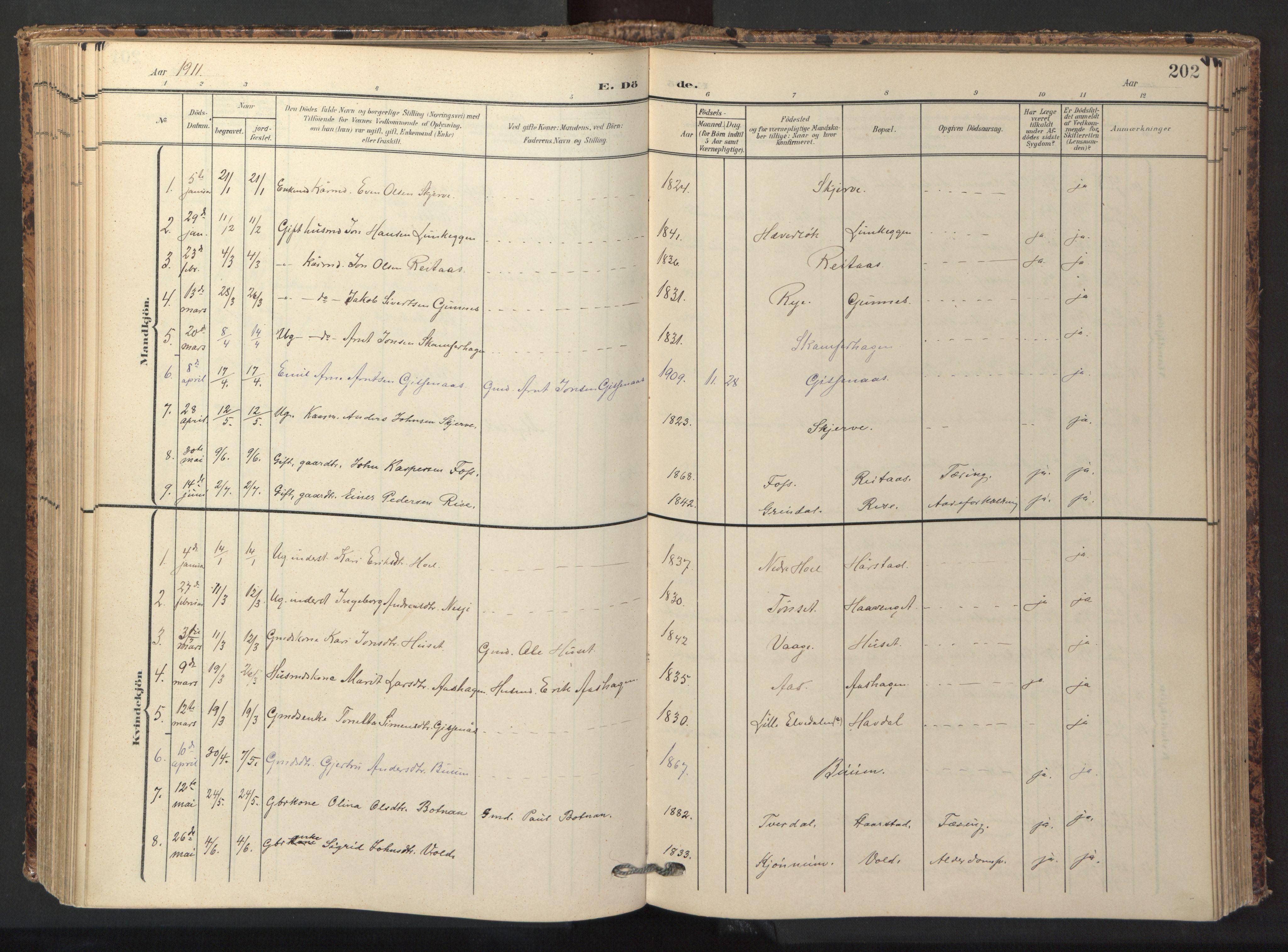 SAT, Ministerialprotokoller, klokkerbøker og fødselsregistre - Sør-Trøndelag, 674/L0873: Ministerialbok nr. 674A05, 1908-1923, s. 202