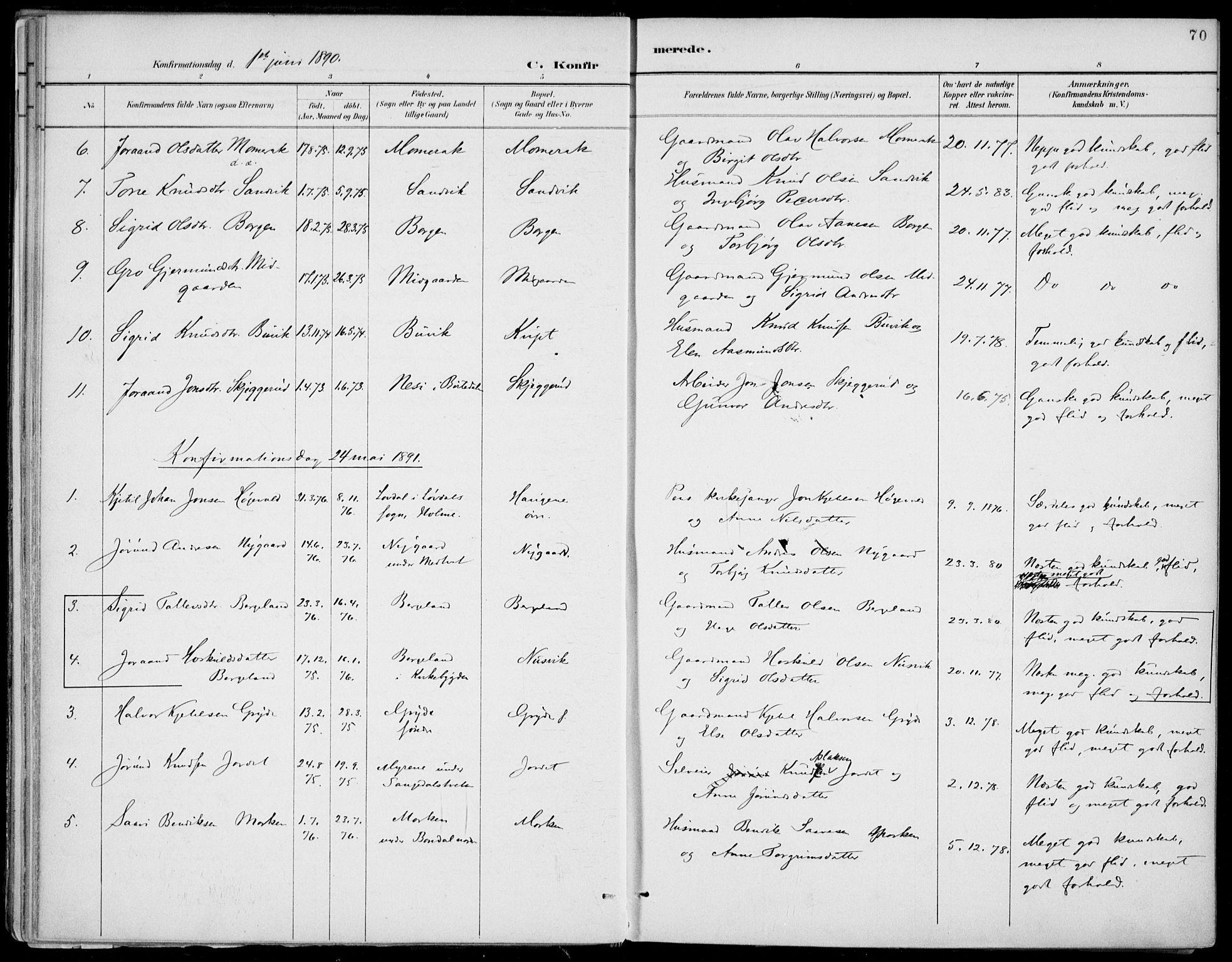 SAKO, Fyresdal kirkebøker, F/Fa/L0007: Ministerialbok nr. I 7, 1887-1914, s. 70