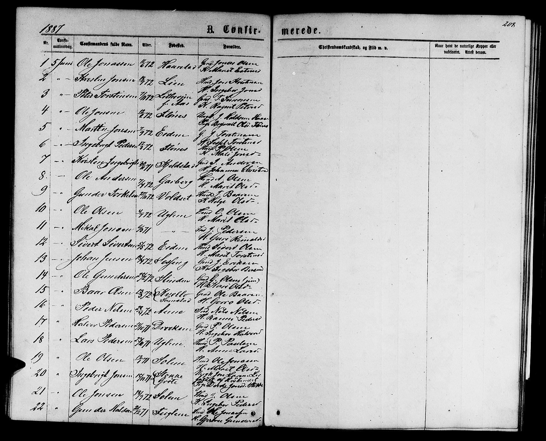 SAT, Ministerialprotokoller, klokkerbøker og fødselsregistre - Sør-Trøndelag, 695/L1156: Klokkerbok nr. 695C07, 1869-1888, s. 208