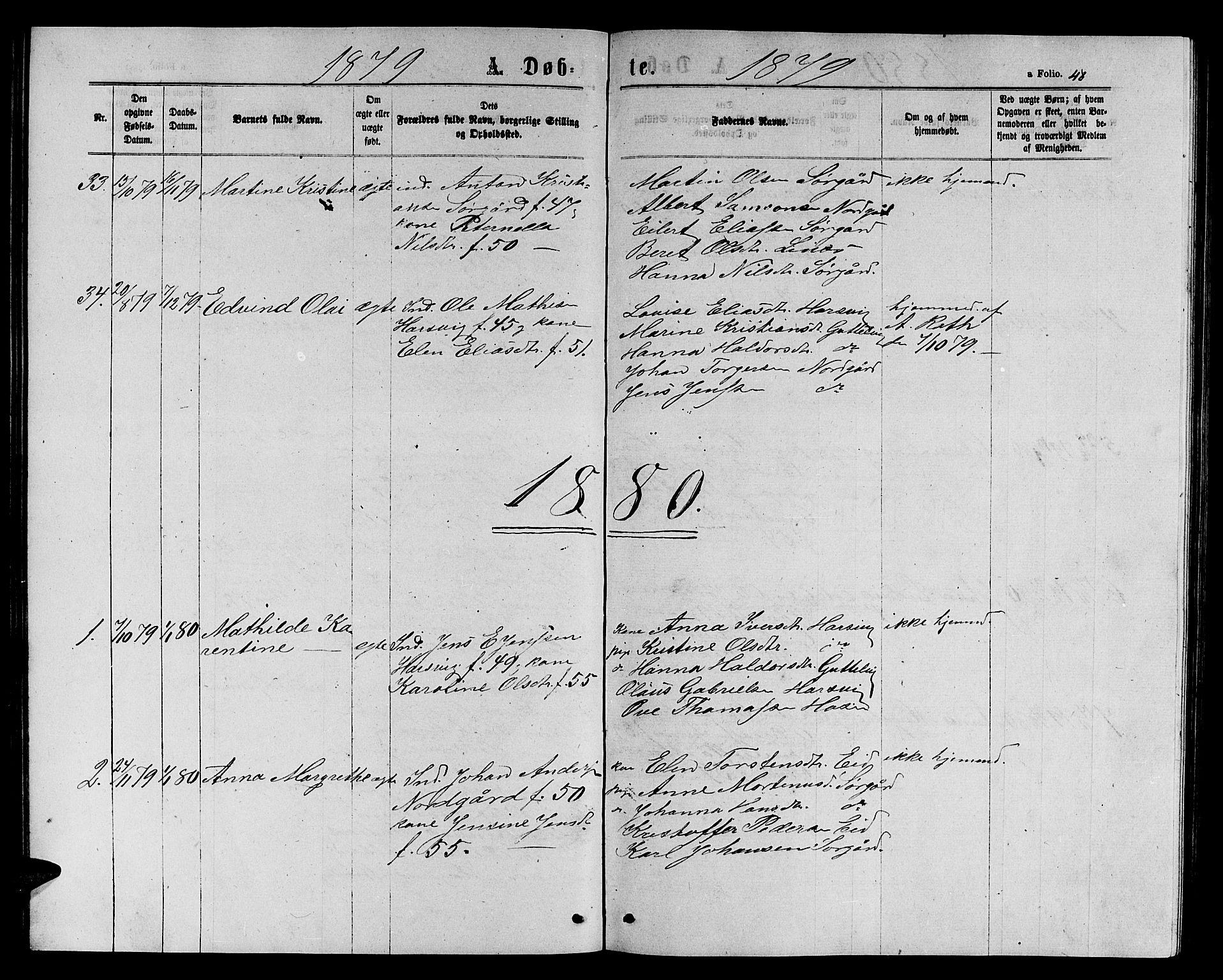 SAT, Ministerialprotokoller, klokkerbøker og fødselsregistre - Sør-Trøndelag, 656/L0695: Klokkerbok nr. 656C01, 1867-1889, s. 48