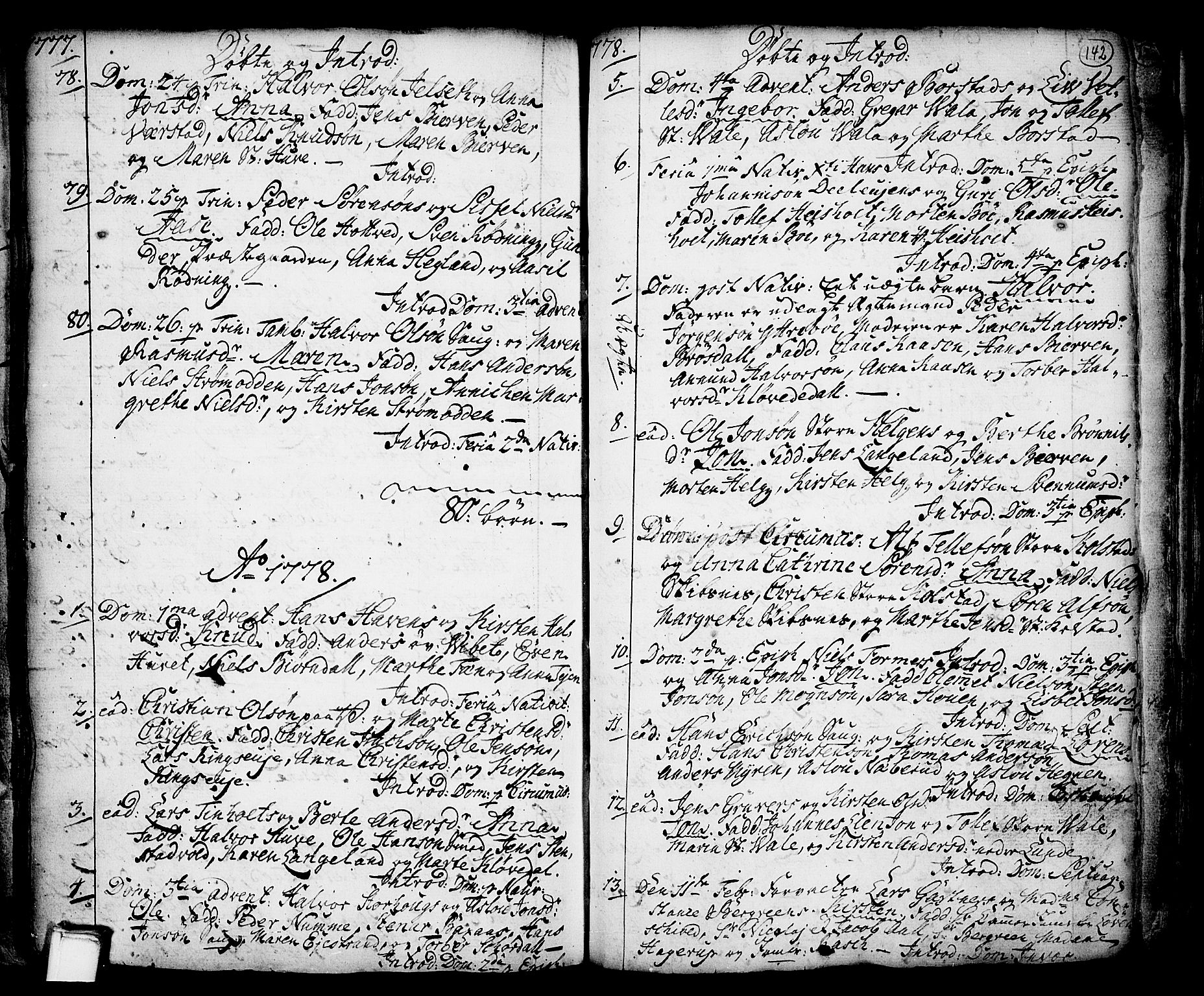 SAKO, Holla kirkebøker, F/Fa/L0001: Ministerialbok nr. 1, 1717-1779, s. 142