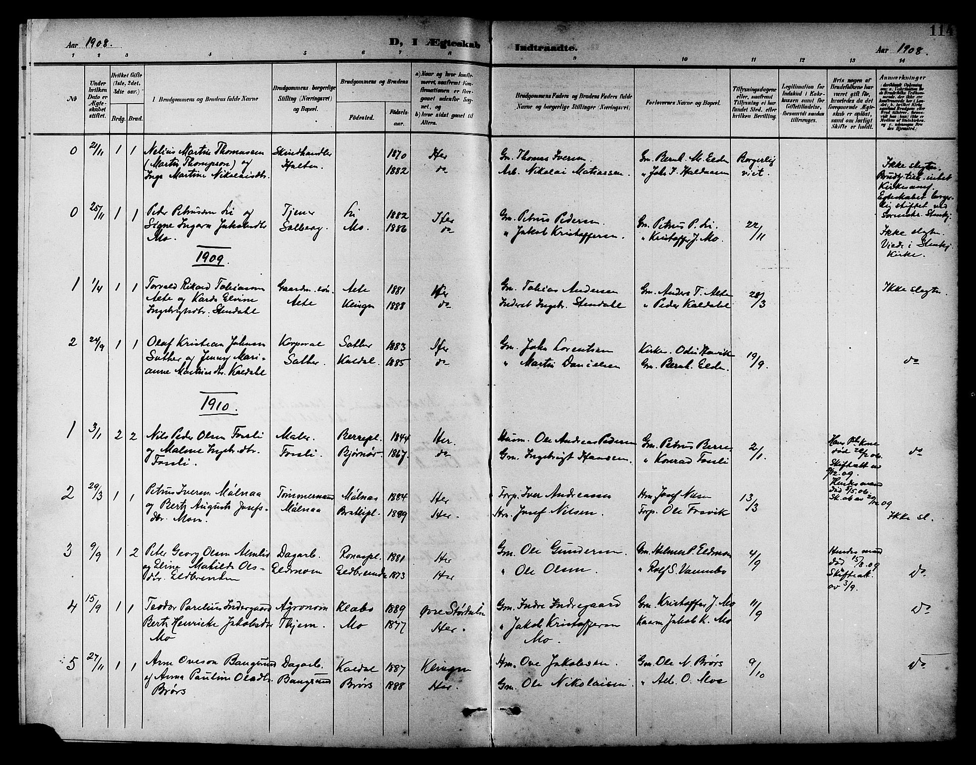 SAT, Ministerialprotokoller, klokkerbøker og fødselsregistre - Nord-Trøndelag, 742/L0412: Klokkerbok nr. 742C03, 1898-1910, s. 114