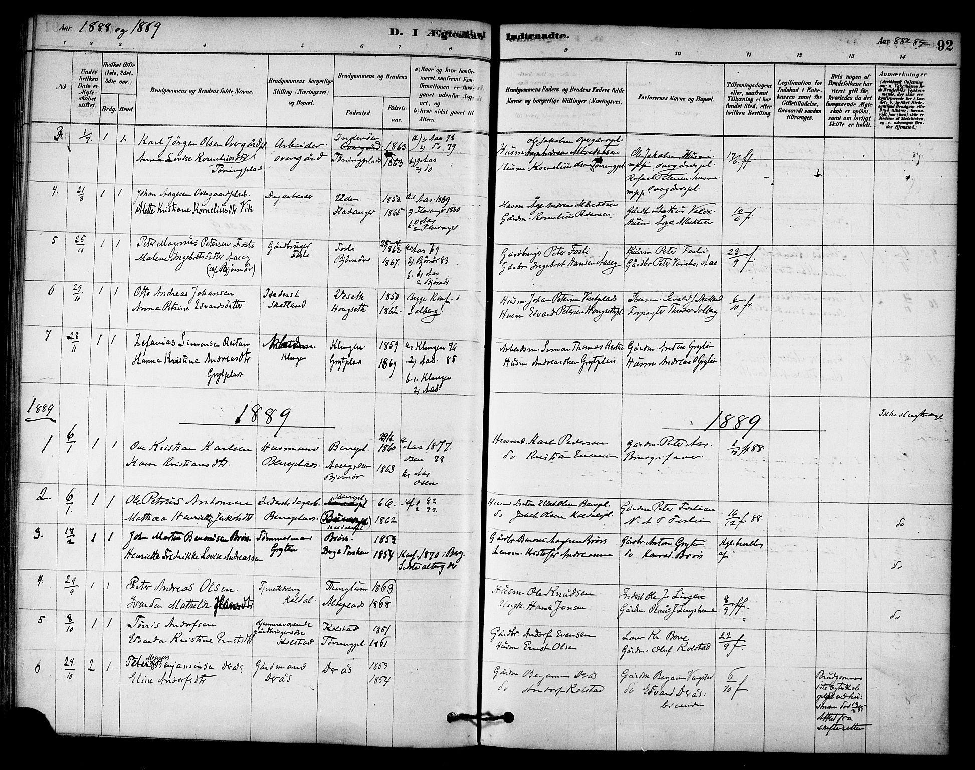 SAT, Ministerialprotokoller, klokkerbøker og fødselsregistre - Nord-Trøndelag, 742/L0408: Ministerialbok nr. 742A01, 1878-1890, s. 92