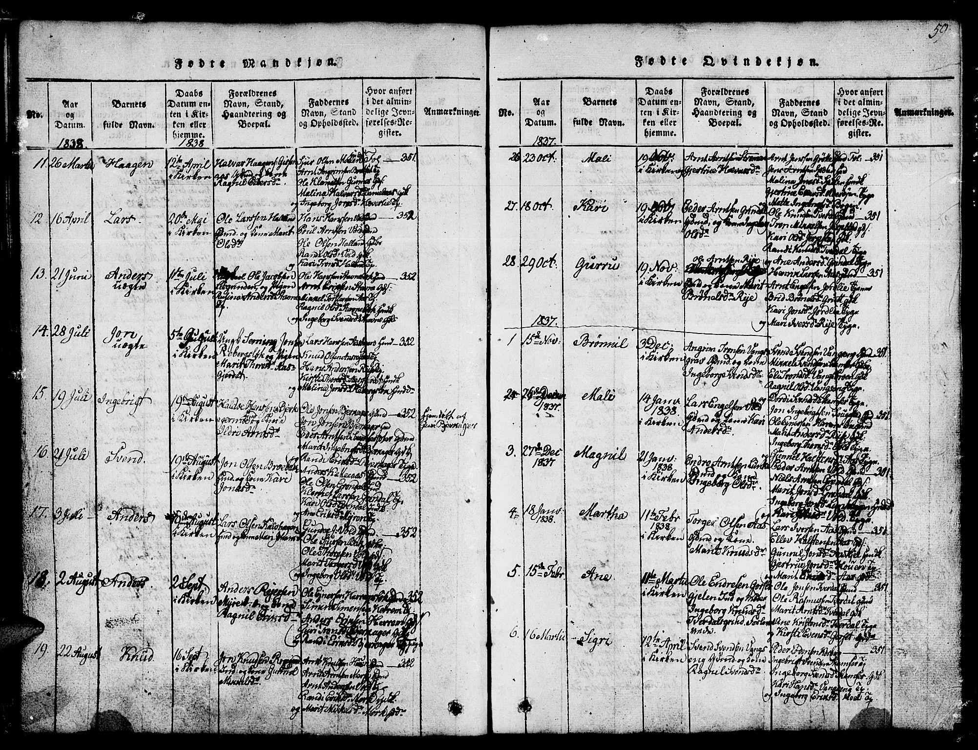 SAT, Ministerialprotokoller, klokkerbøker og fødselsregistre - Sør-Trøndelag, 674/L0874: Klokkerbok nr. 674C01, 1816-1860, s. 59
