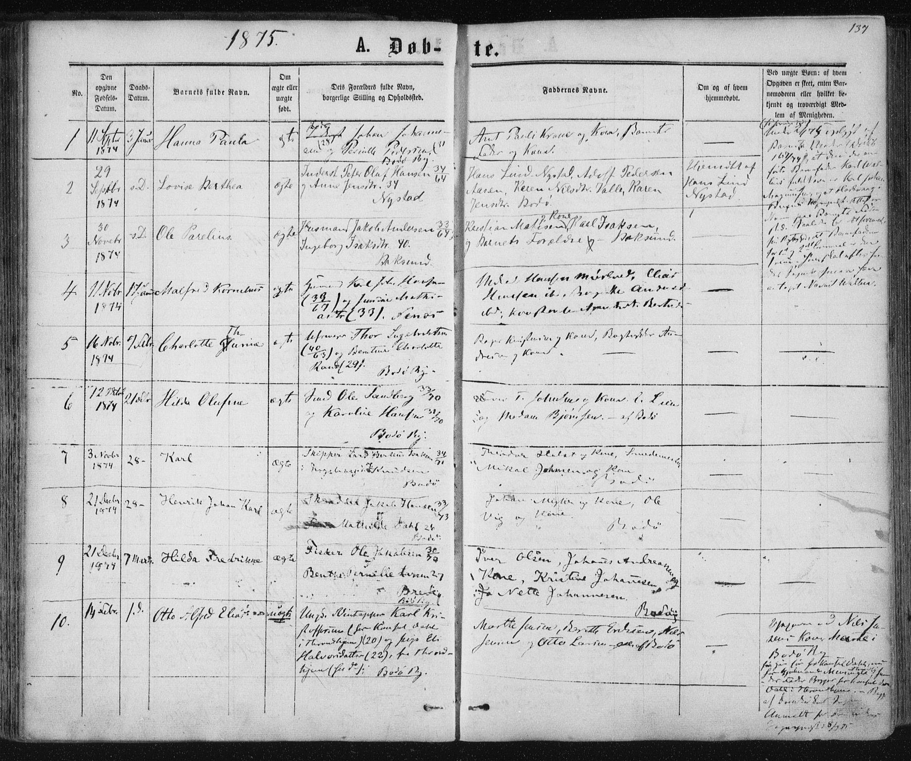SAT, Ministerialprotokoller, klokkerbøker og fødselsregistre - Nordland, 801/L0008: Ministerialbok nr. 801A08, 1864-1875, s. 137