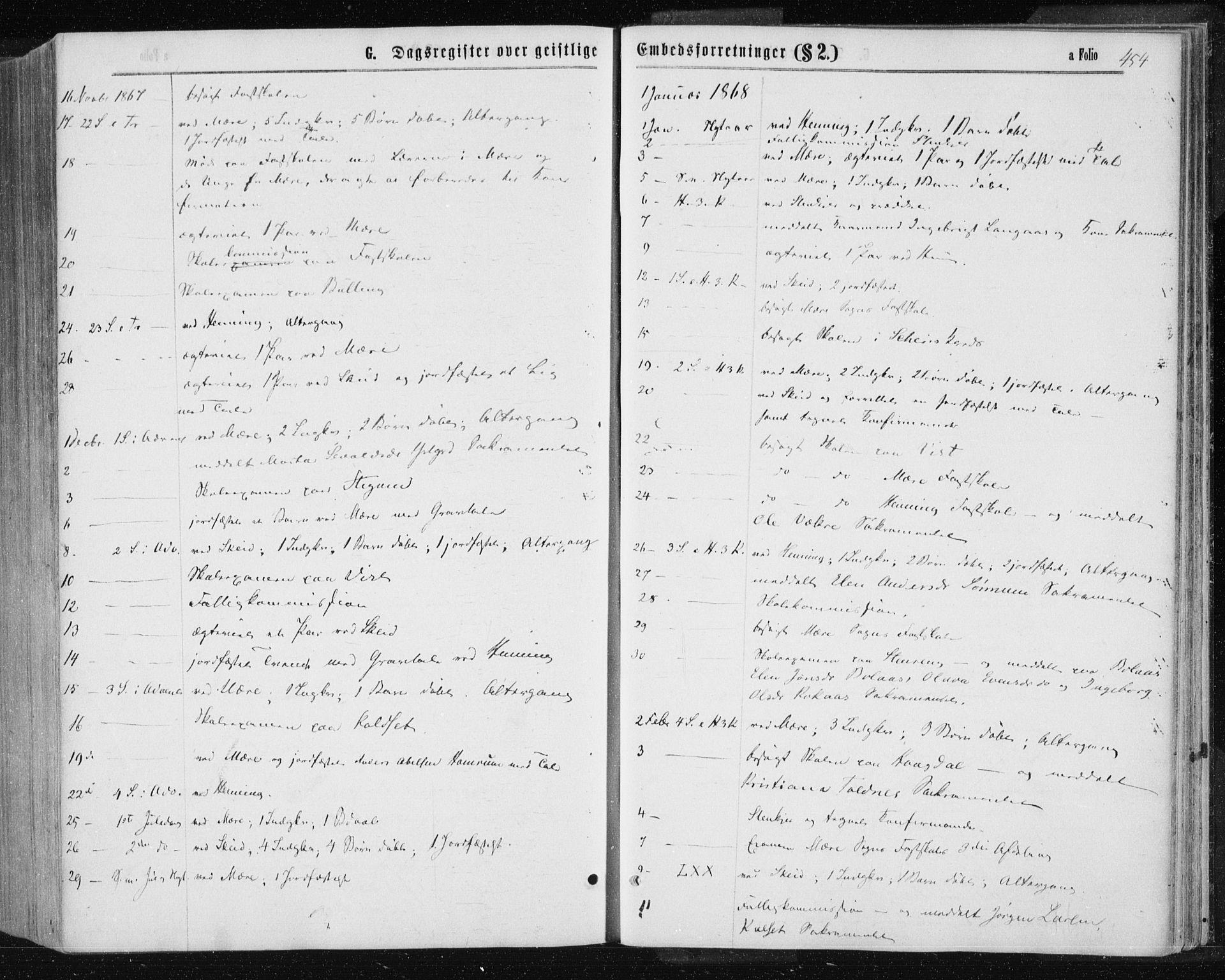 SAT, Ministerialprotokoller, klokkerbøker og fødselsregistre - Nord-Trøndelag, 735/L0345: Ministerialbok nr. 735A08 /1, 1863-1872, s. 454
