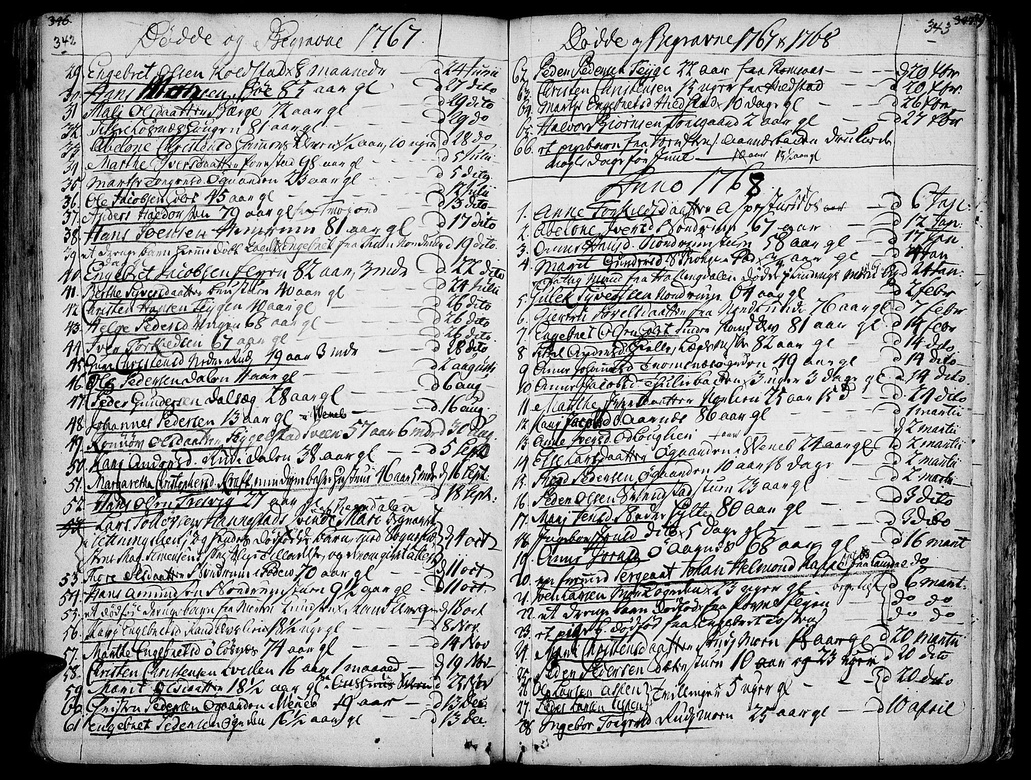 SAH, Ringebu prestekontor, Ministerialbok nr. 2, 1734-1780, s. 342-343