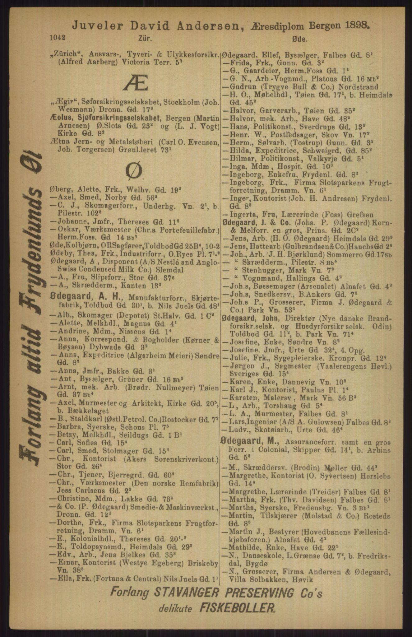 RA, Kristiania adressebok (publikasjon)*, 1911, s. 1042