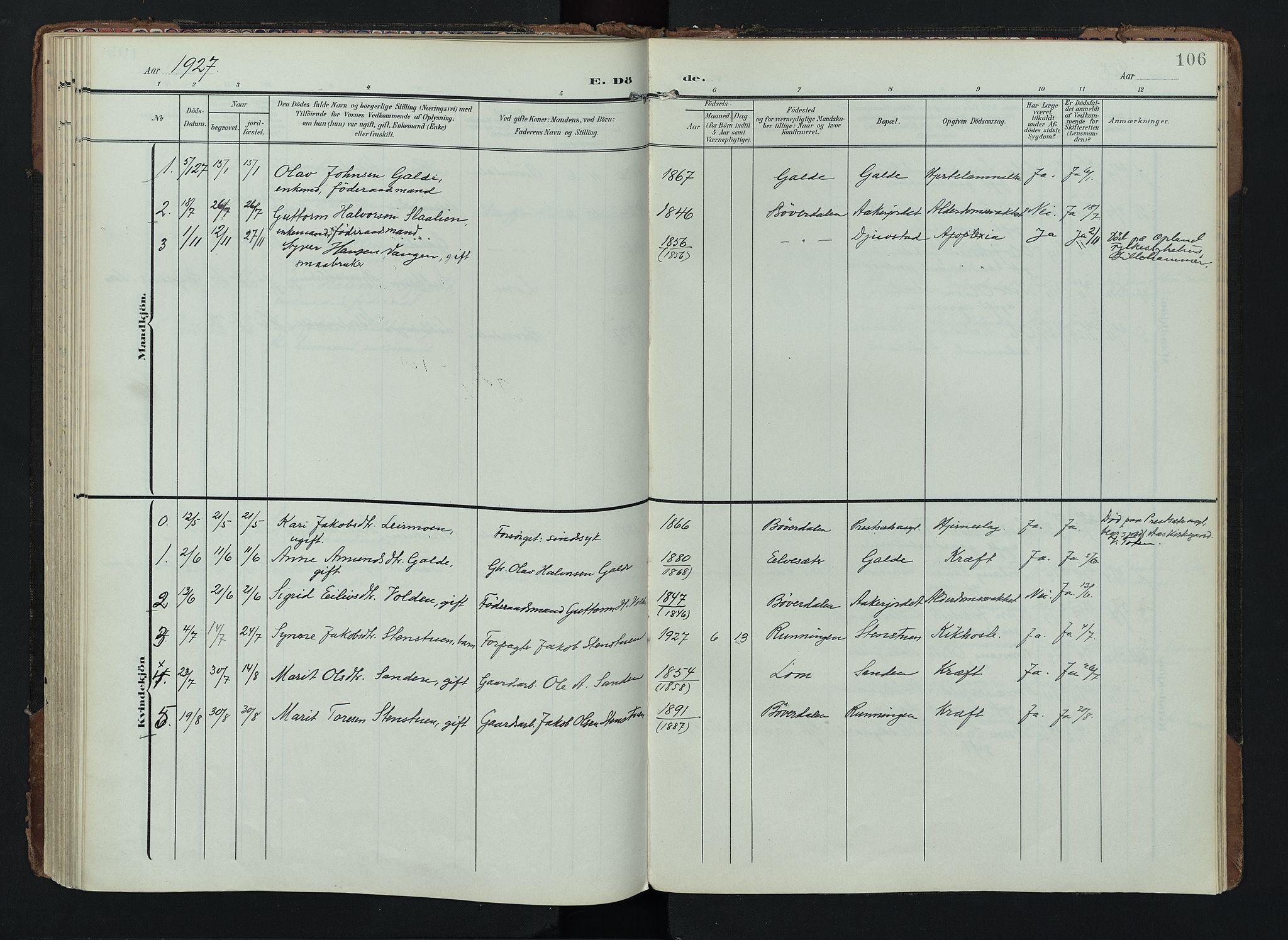SAH, Lom prestekontor, K/L0012: Ministerialbok nr. 12, 1904-1928, s. 106