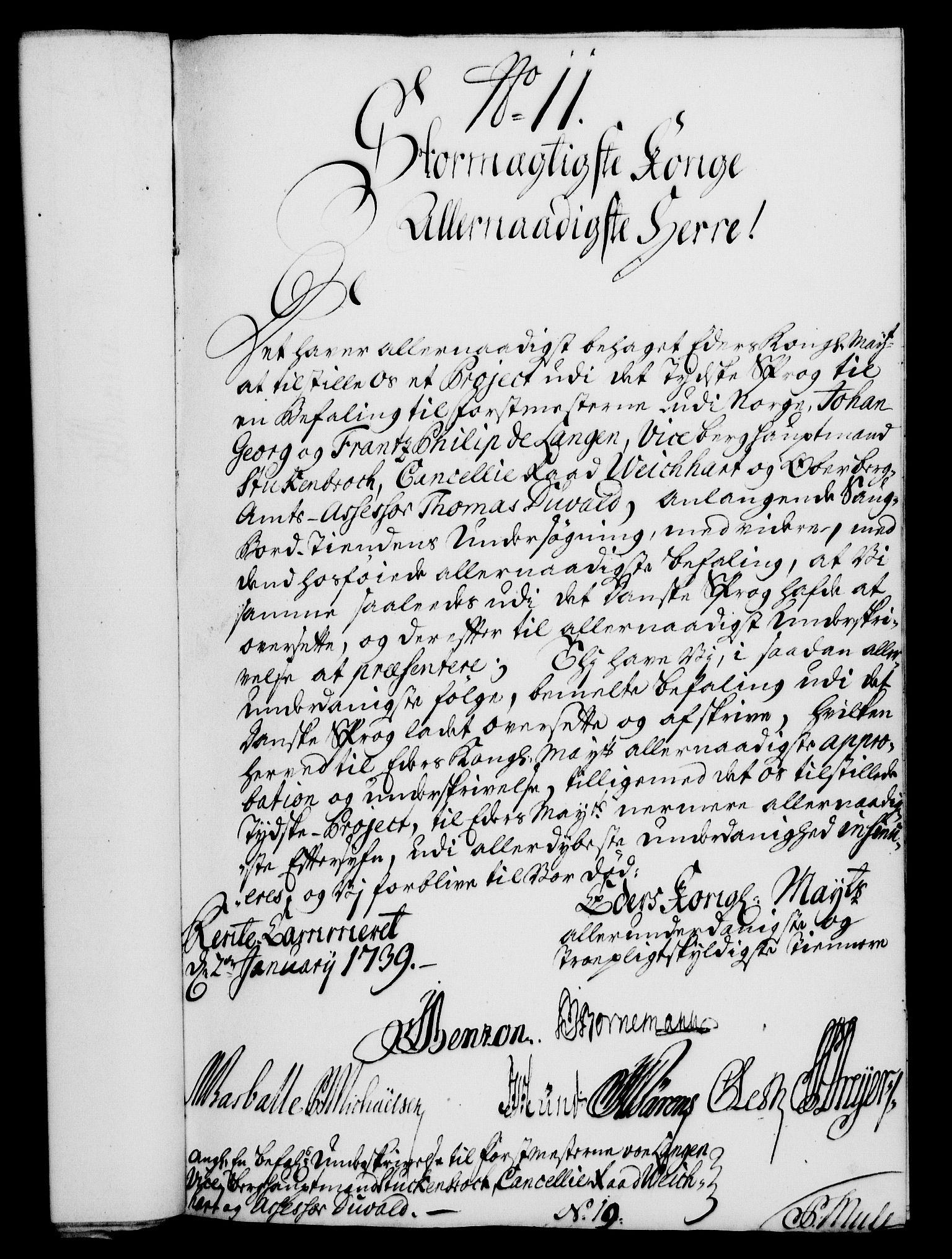 RA, Rentekammeret, Kammerkanselliet, G/Gf/Gfa/L0022: Norsk relasjons- og resolusjonsprotokoll (merket RK 52.22), 1739, s. 82
