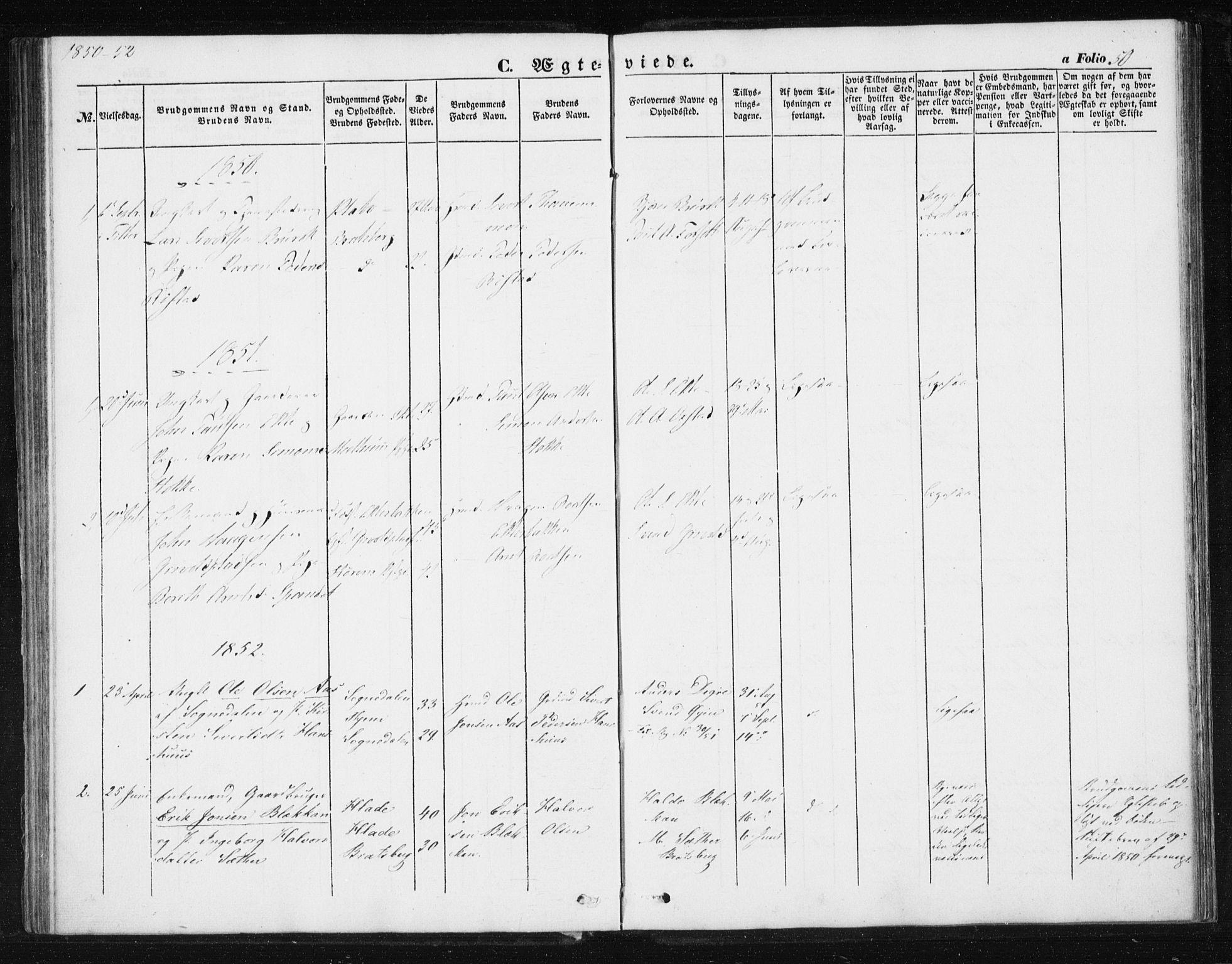 SAT, Ministerialprotokoller, klokkerbøker og fødselsregistre - Sør-Trøndelag, 608/L0332: Ministerialbok nr. 608A01, 1848-1861, s. 50