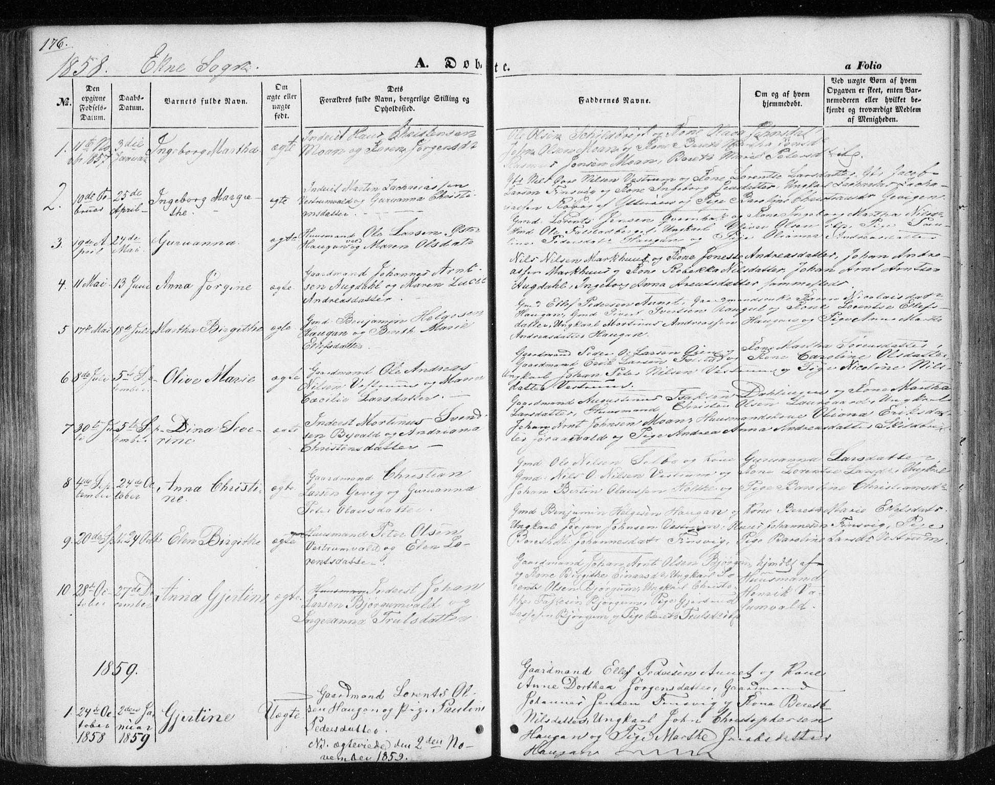 SAT, Ministerialprotokoller, klokkerbøker og fødselsregistre - Nord-Trøndelag, 717/L0154: Ministerialbok nr. 717A07 /3, 1850-1862, s. 176