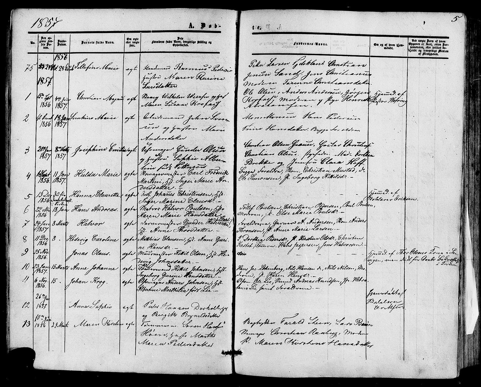 SAKO, Skien kirkebøker, F/Fa/L0007: Ministerialbok nr. 7, 1856-1865, s. 5