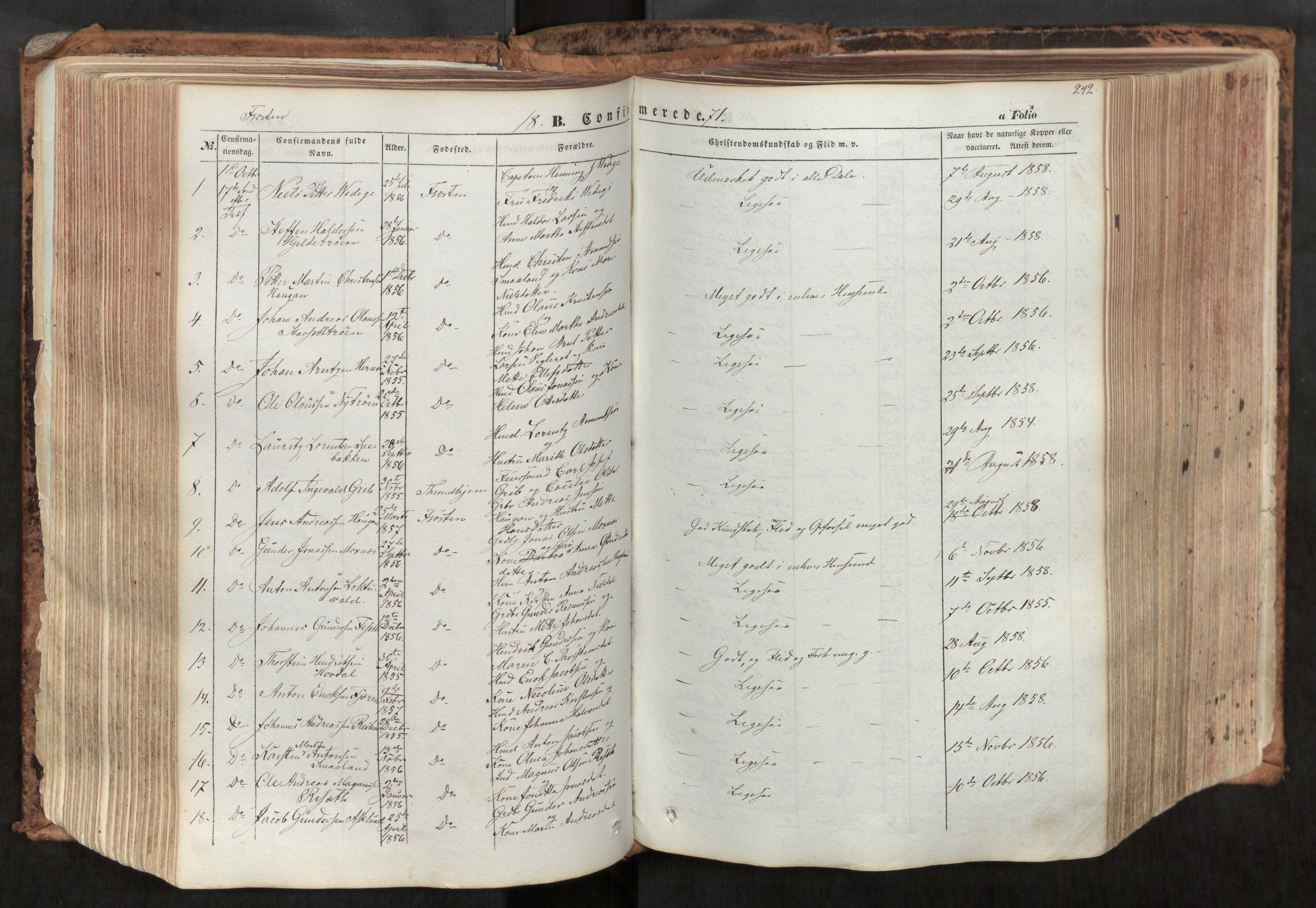 SAT, Ministerialprotokoller, klokkerbøker og fødselsregistre - Nord-Trøndelag, 713/L0116: Ministerialbok nr. 713A07, 1850-1877, s. 242