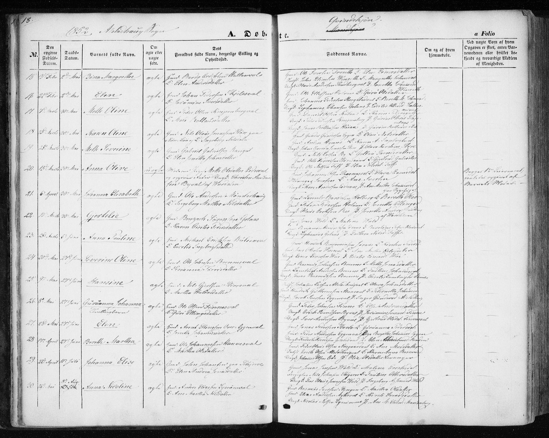 SAT, Ministerialprotokoller, klokkerbøker og fødselsregistre - Nord-Trøndelag, 717/L0154: Ministerialbok nr. 717A07 /1, 1850-1862, s. 18