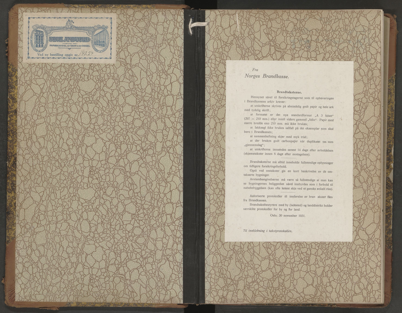 SAT, Sortland lensmannskontor, Oa/L0009: Branntakstprotokoll, 1934-1937