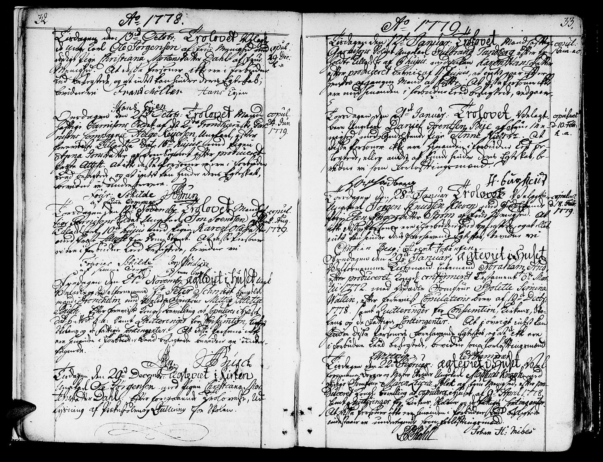 SAT, Ministerialprotokoller, klokkerbøker og fødselsregistre - Sør-Trøndelag, 602/L0105: Ministerialbok nr. 602A03, 1774-1814, s. 32-33